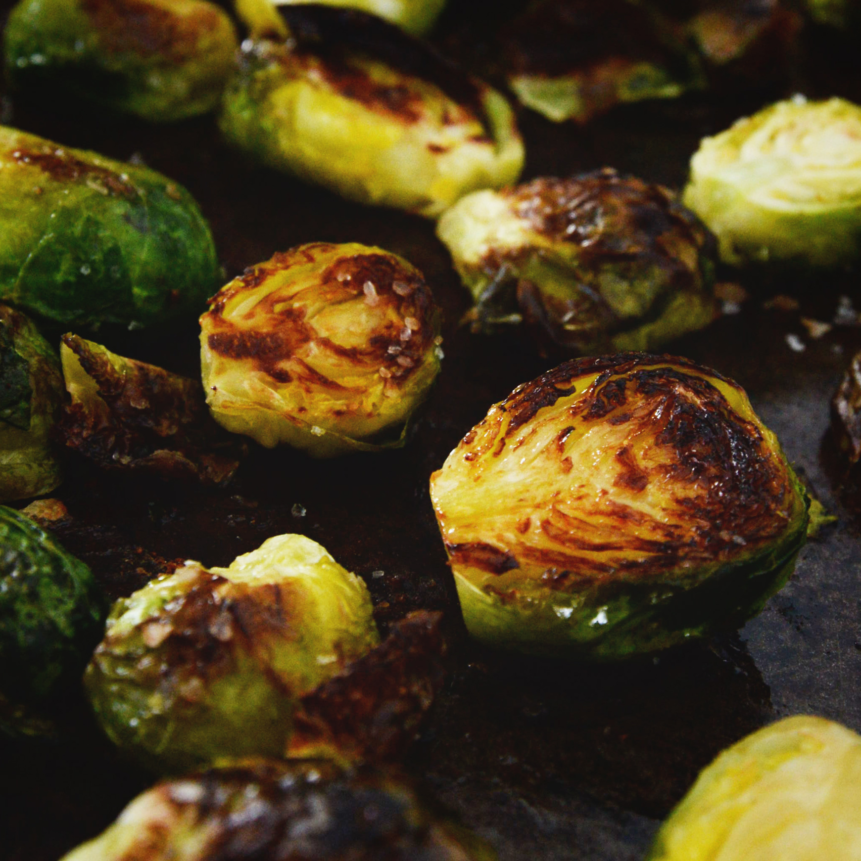 Easy Roasted Brussels Sprouts-roasted on the baking sheet