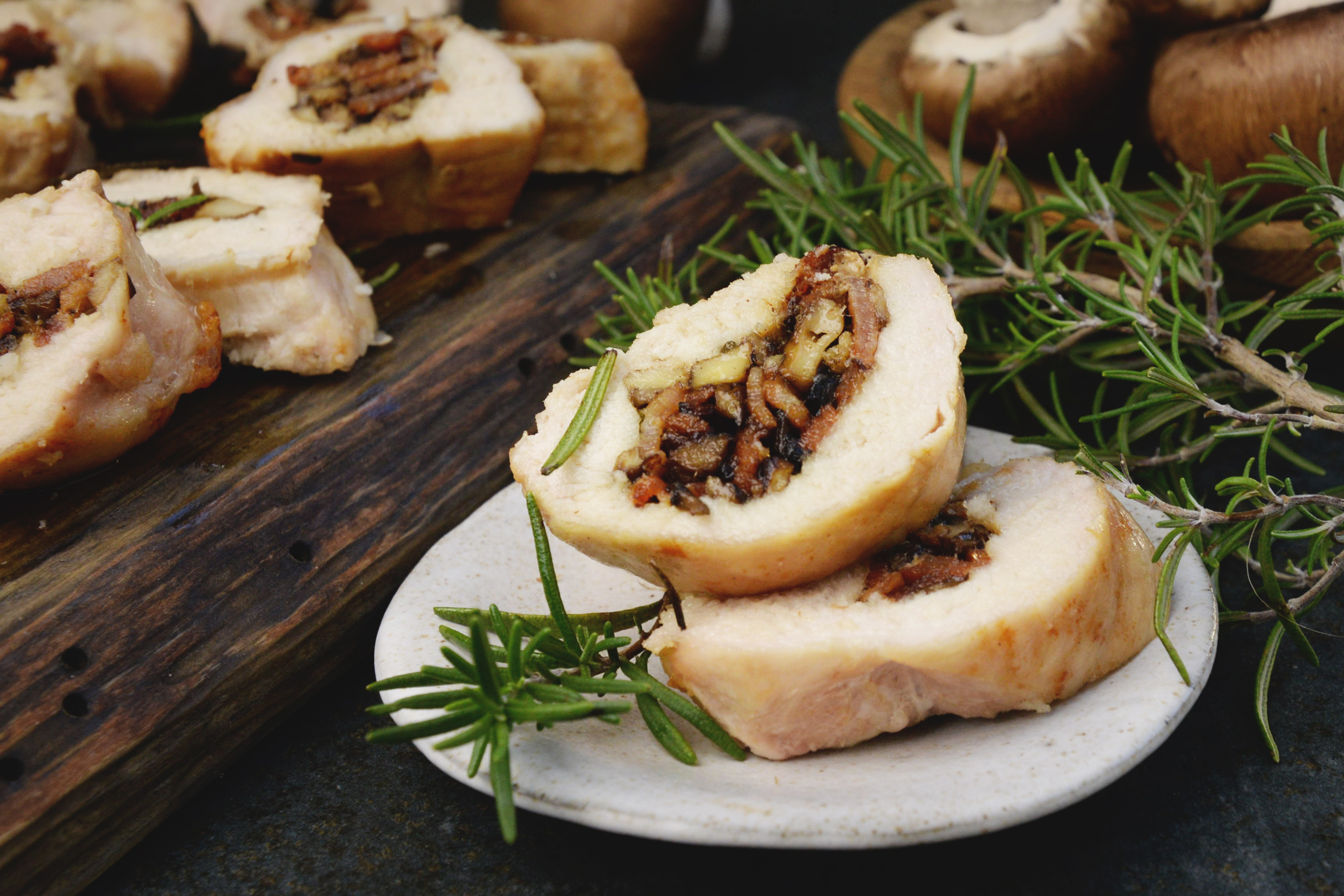 Mushroom and Bacon Stuffed Chicken Breasts