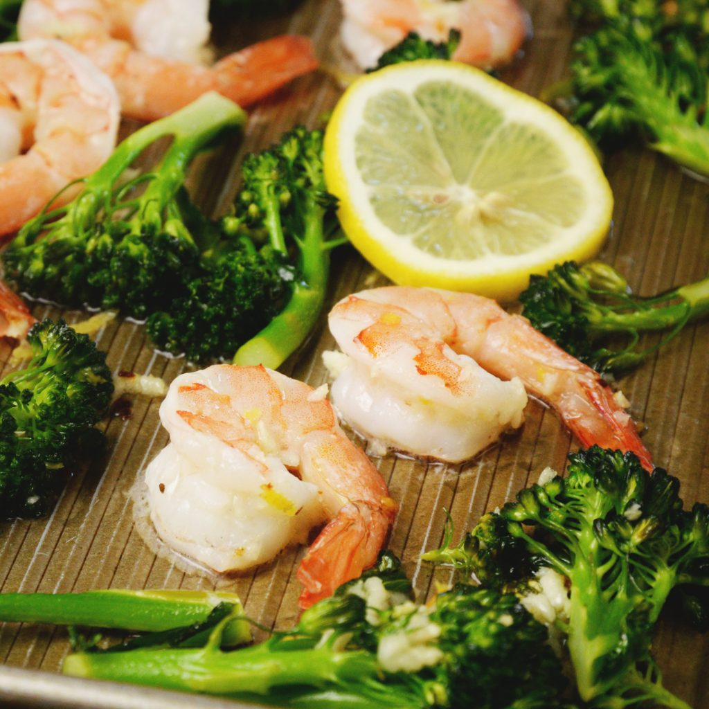 Lemon Garlic Shrimp Sheet Pan Dinner -Final dish on sheet