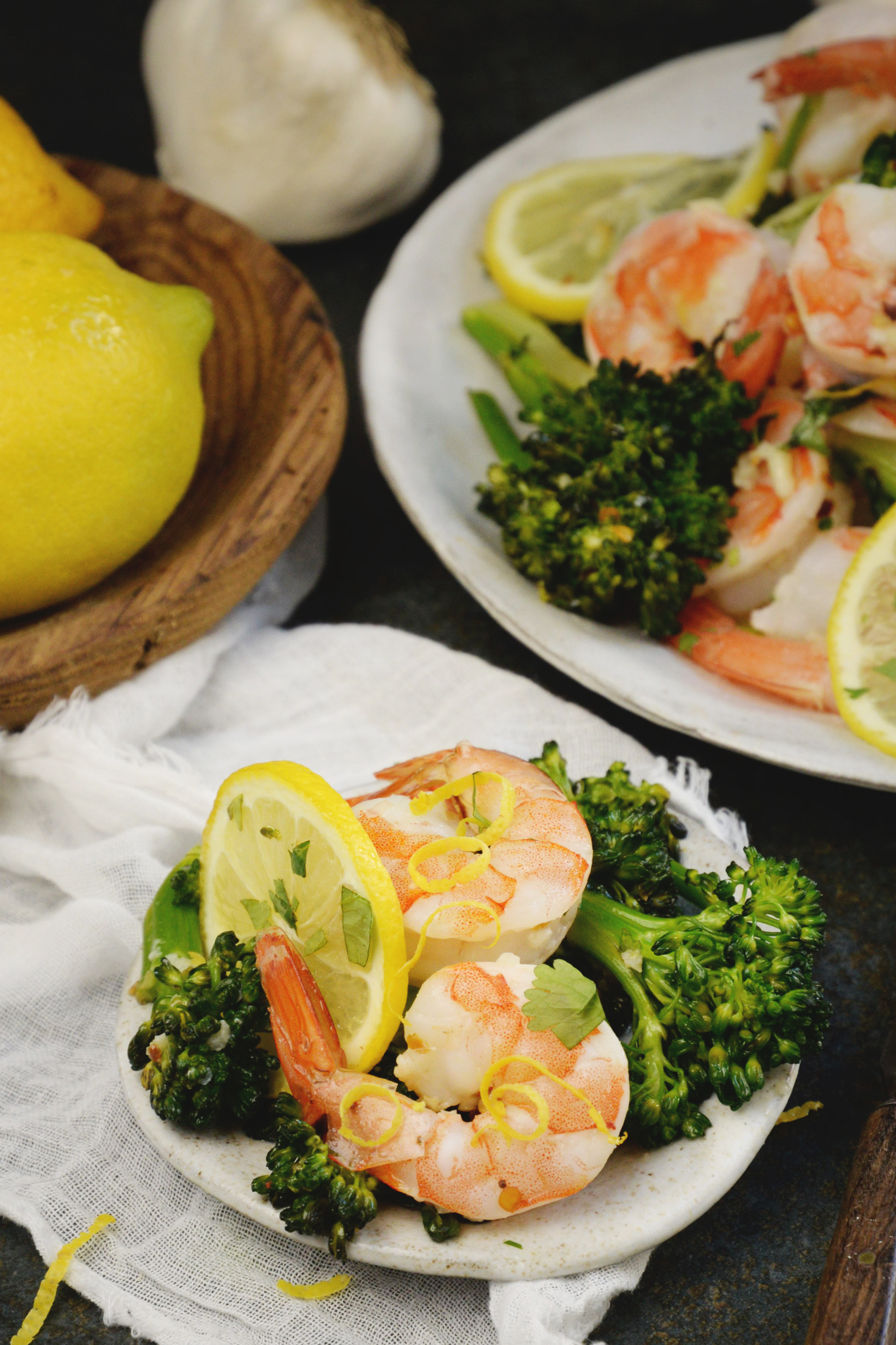 Lemon Garlic Shrimp Sheet Pan Dinner-served