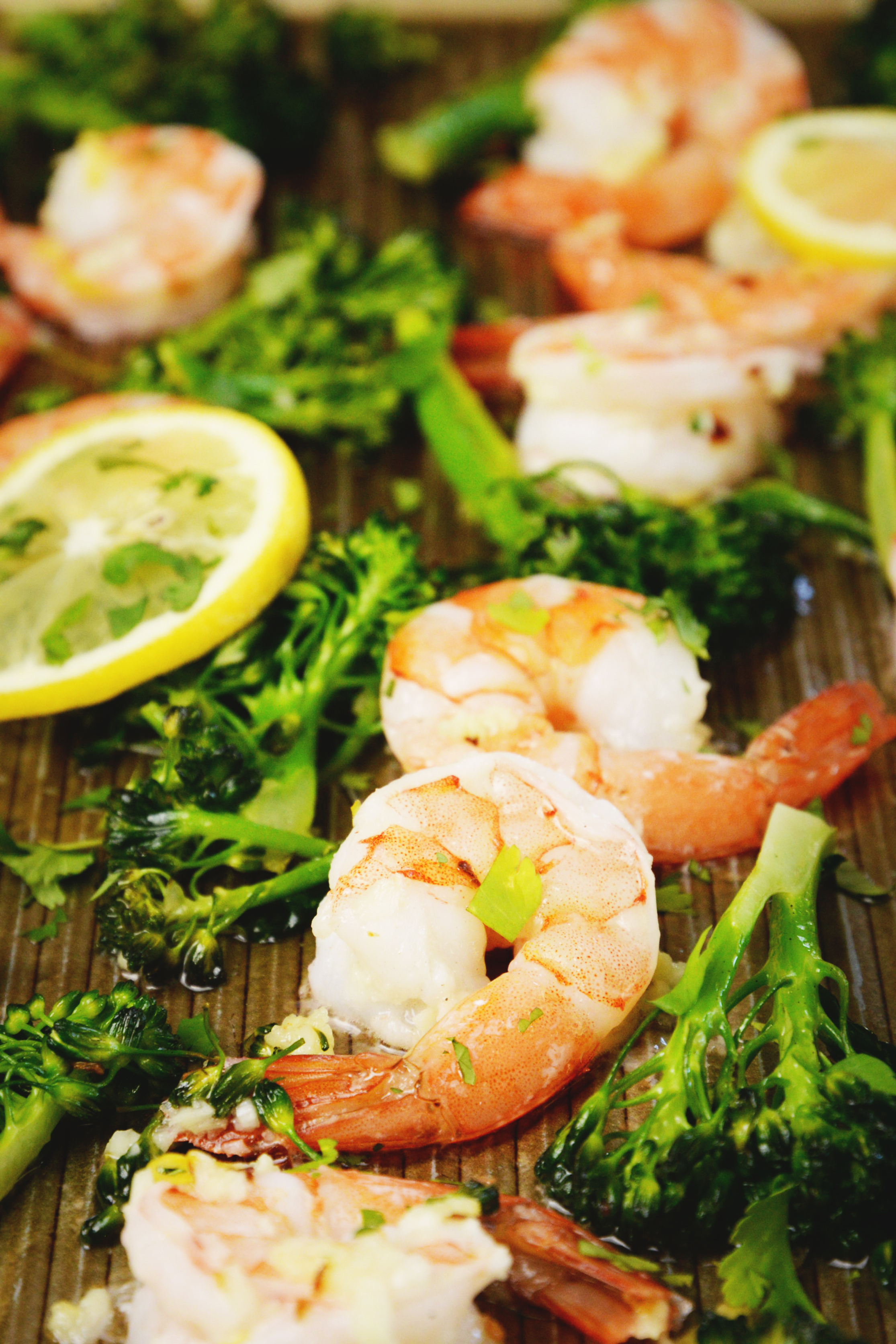 Lemon Garlic Shrimp Sheet Pan Dinner -still on the pan.