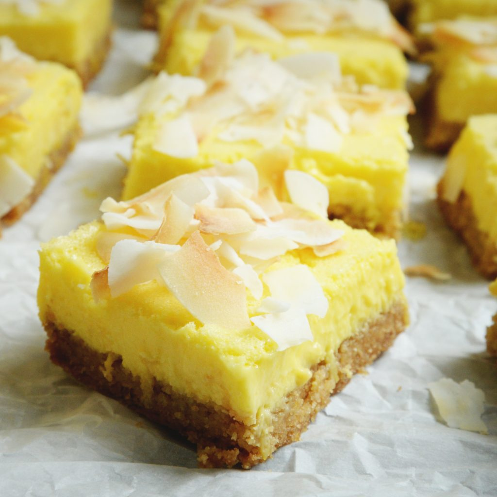 Low-Carb Coconut Lemon Bars-ready for eating.