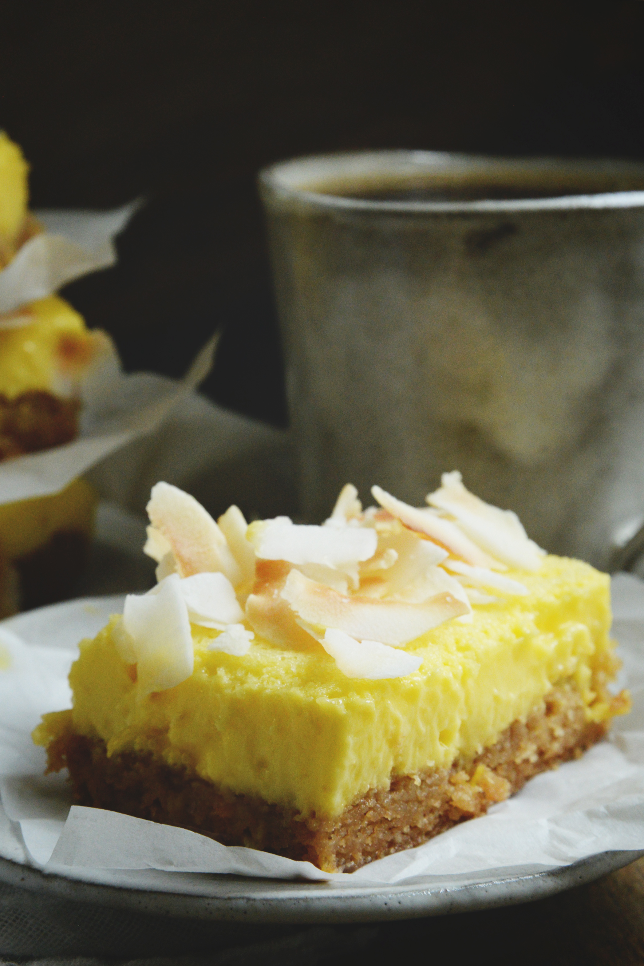 Low-Carb Coconut Lemon Bars-close-up of bar.