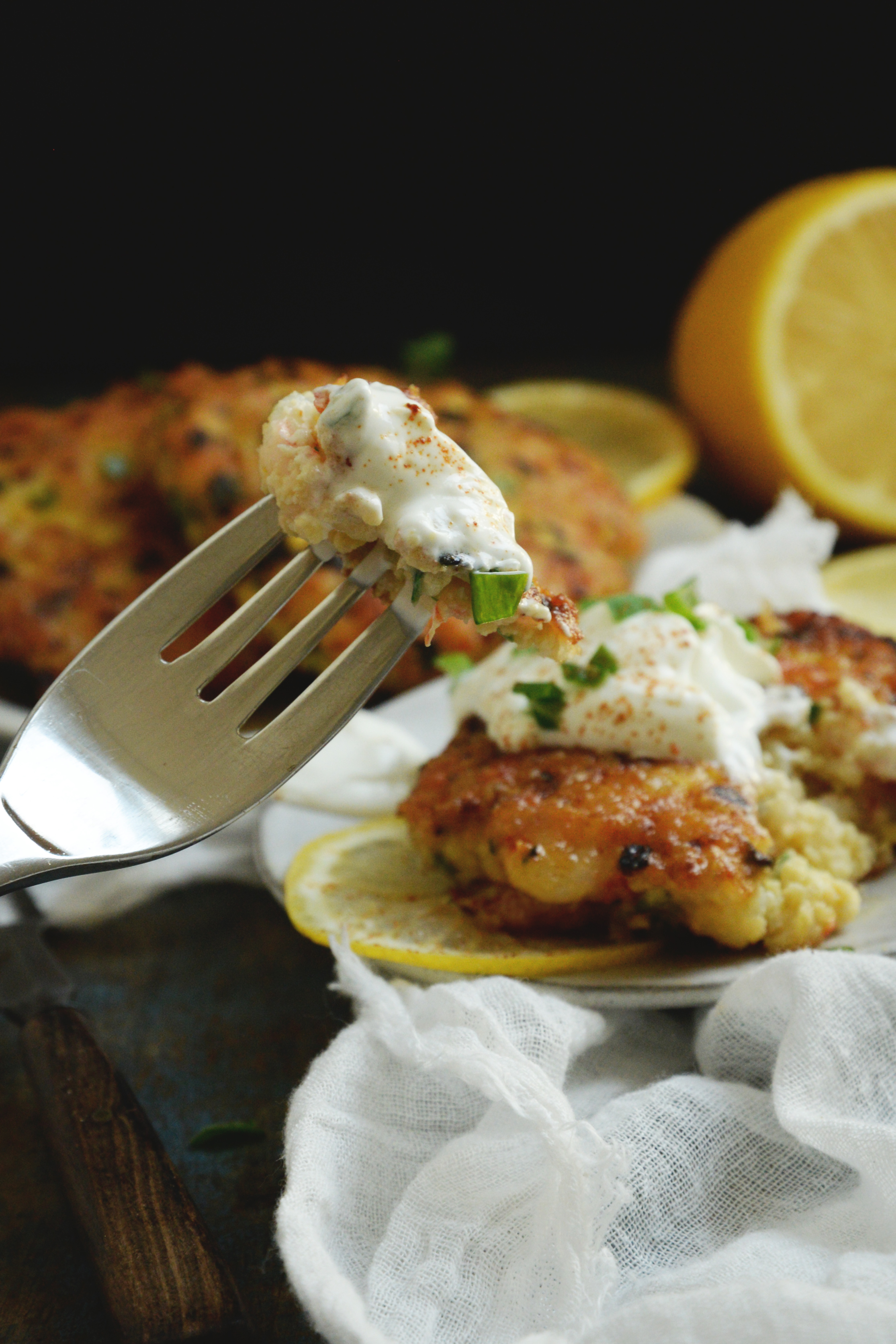 Shrimp Cakes Recipe-low-carb and keto-friendly-close-up of bite.