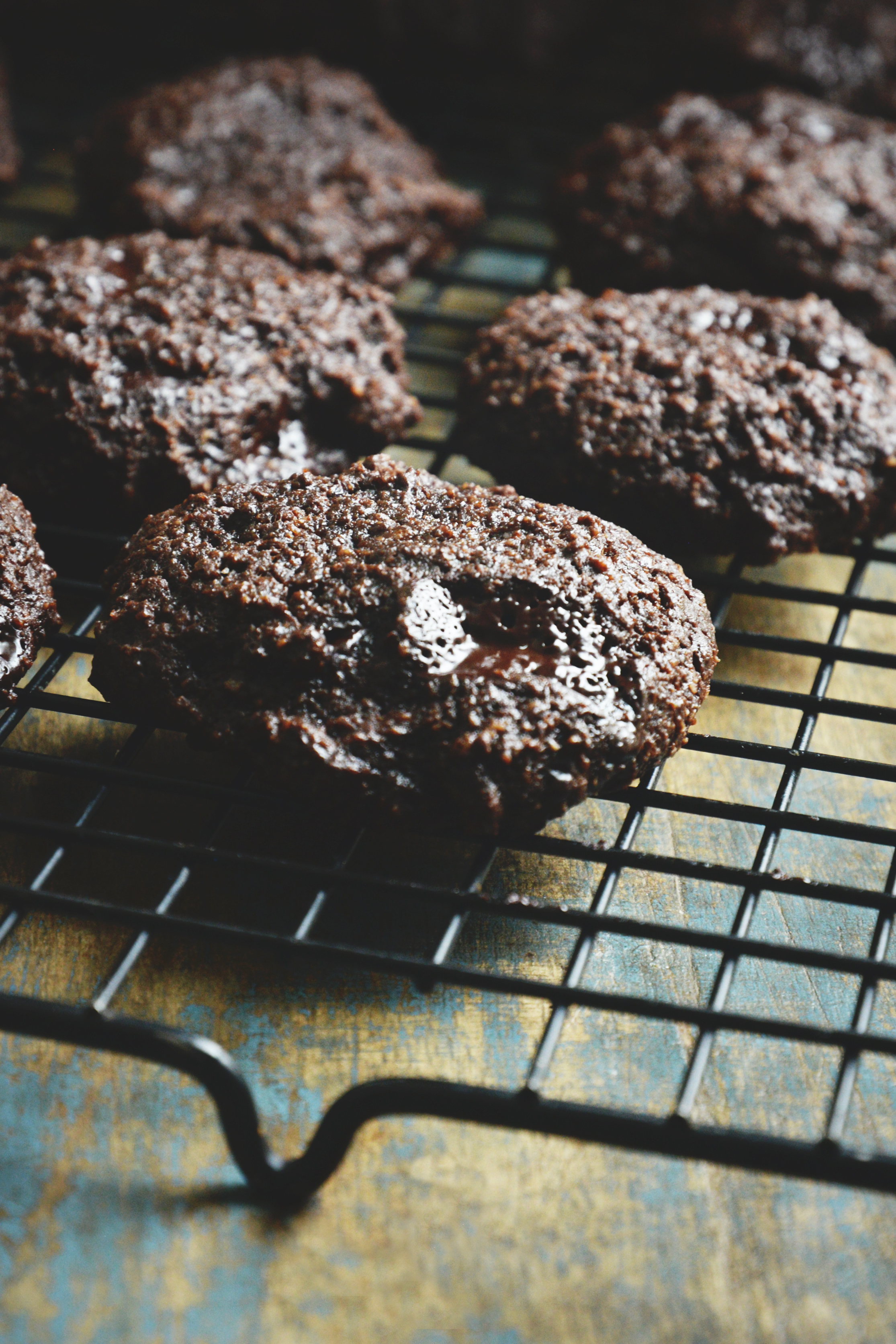 Keto-Friendly Double Chocolate Chip Cookies-On a cooling rack.