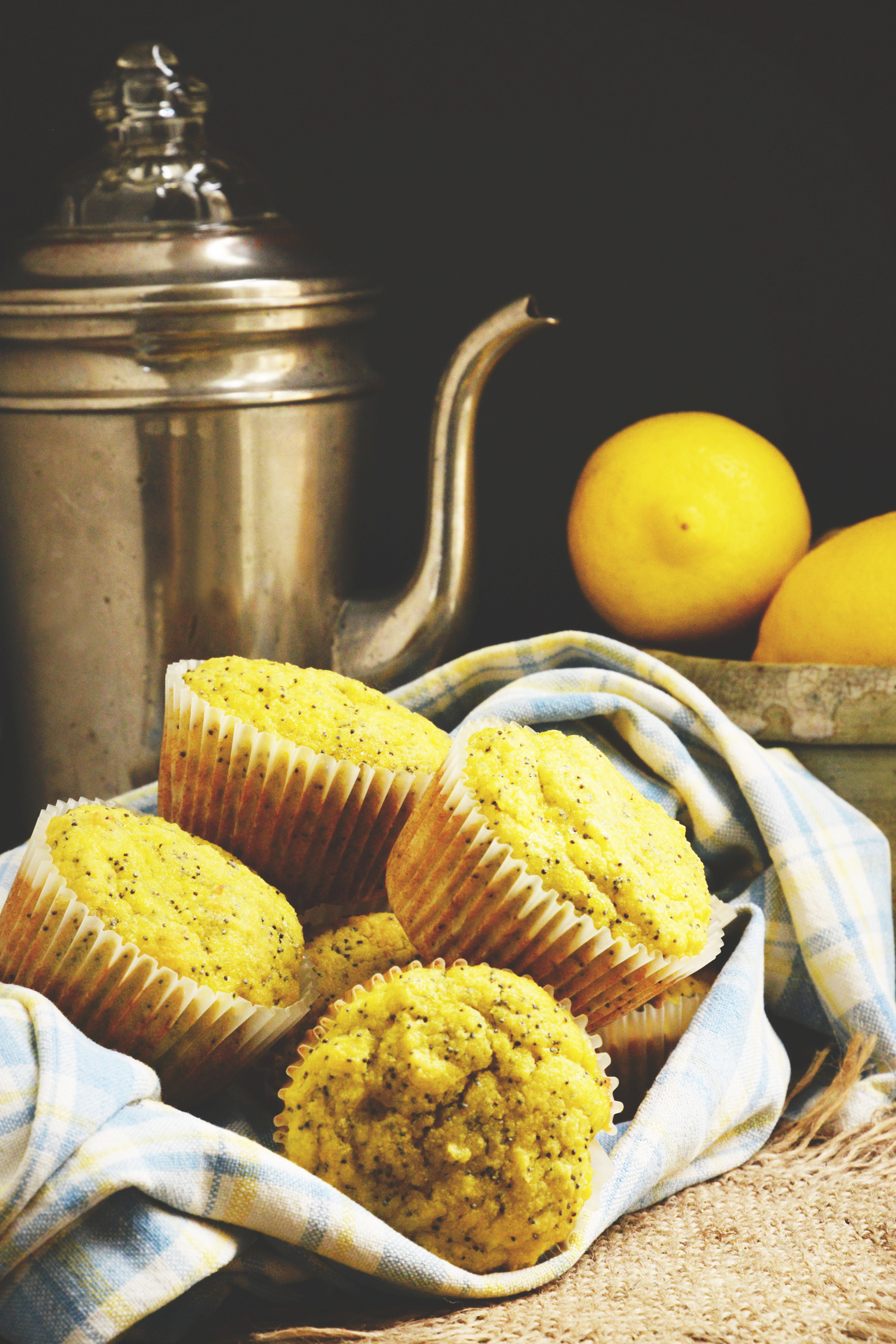 Lemon-Poppy-Seed-Muffins-staying warm in a towel.