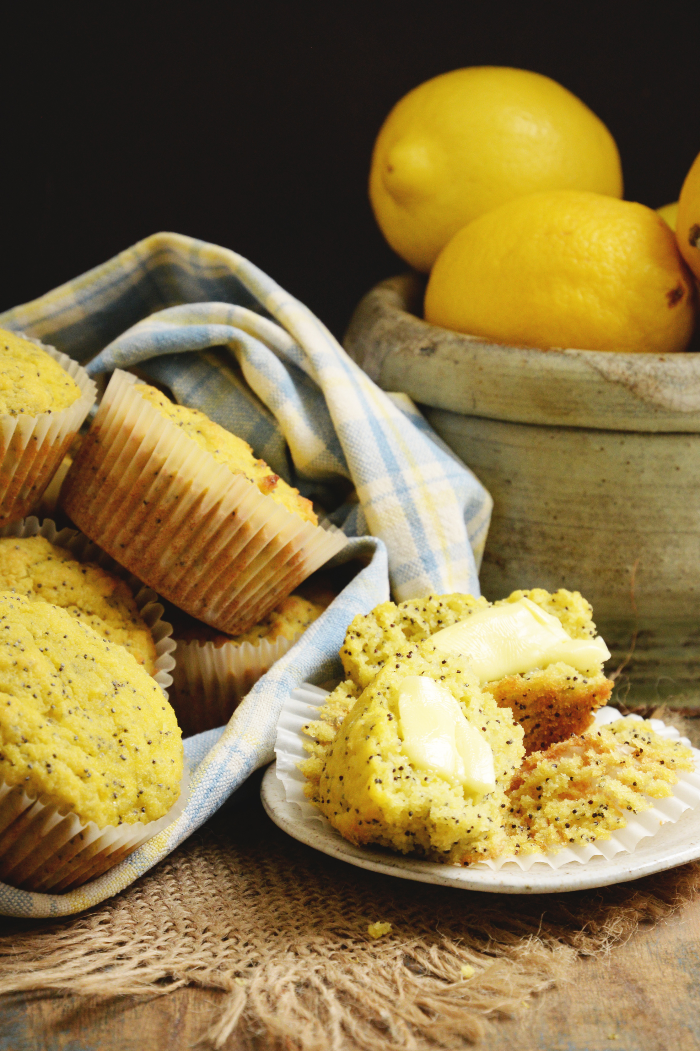 Lemon-Poppy-Seed-Muffins-buttered and ready for eating.