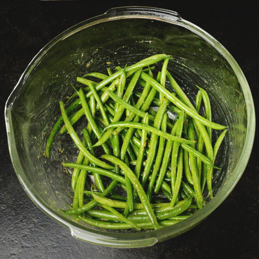 heet Pan Pork Chops with Green Beans-Glazing the beans.