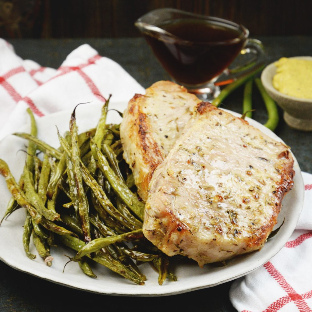 heet Pan Pork Chops with Green Beans-Recipe image.