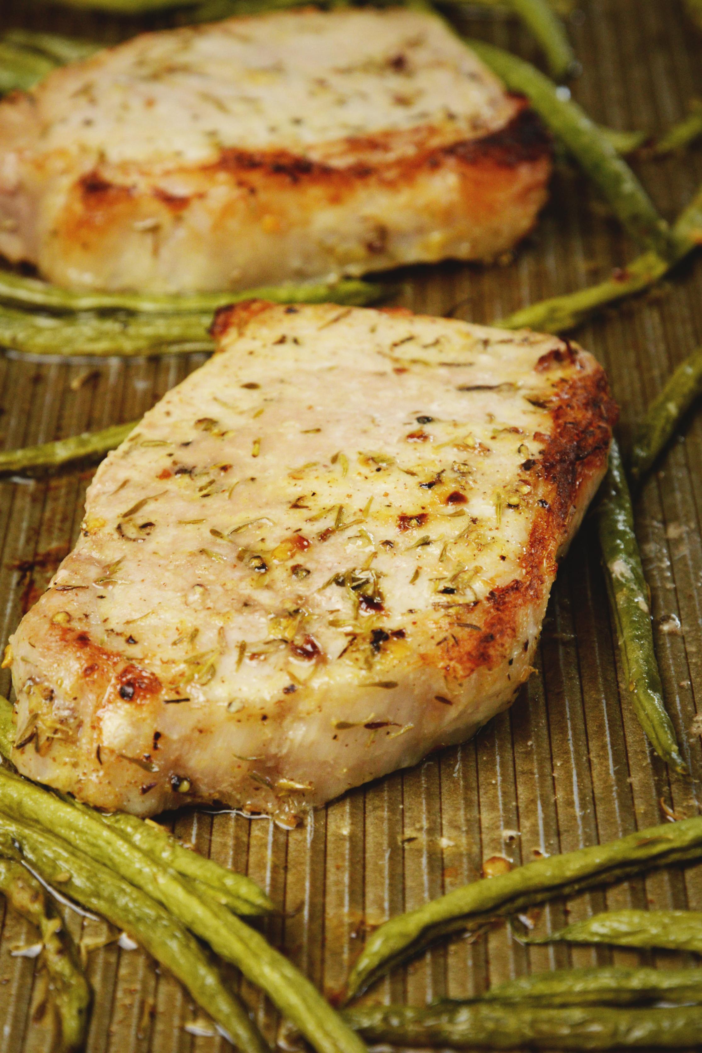 heet Pan Pork Chops with Green Beans-After baking.