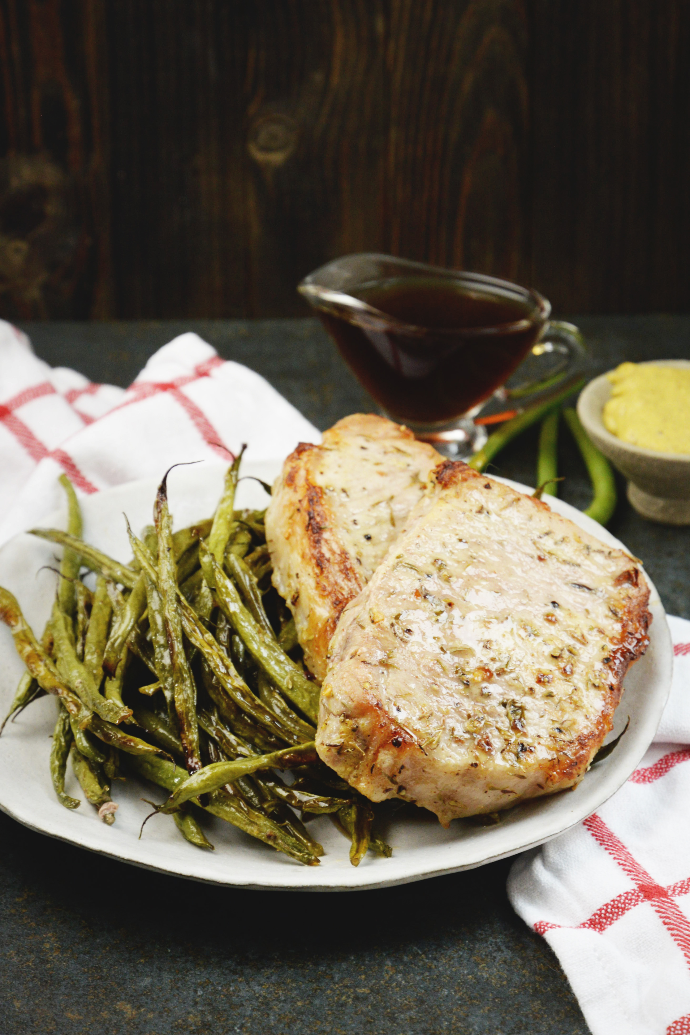 heet Pan Pork Chops with Green Beans-ready to eat.