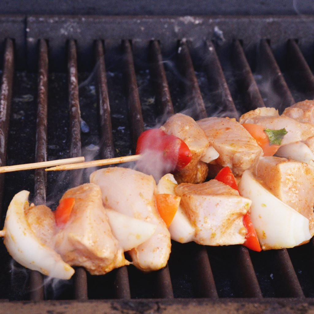 Grilled Fajita Chicken Kabobs-On the grill.