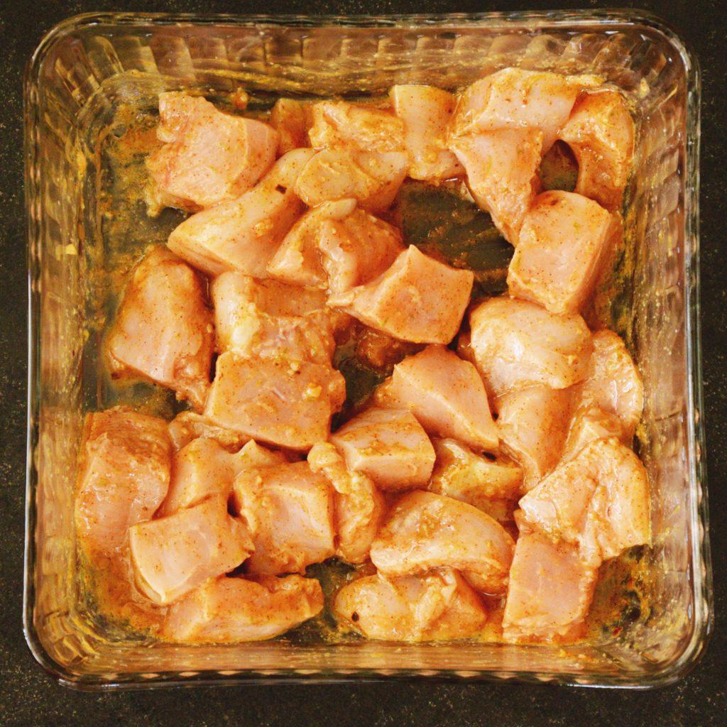 Grilled Fajita Chicken Kabobs-marinating the chicken.