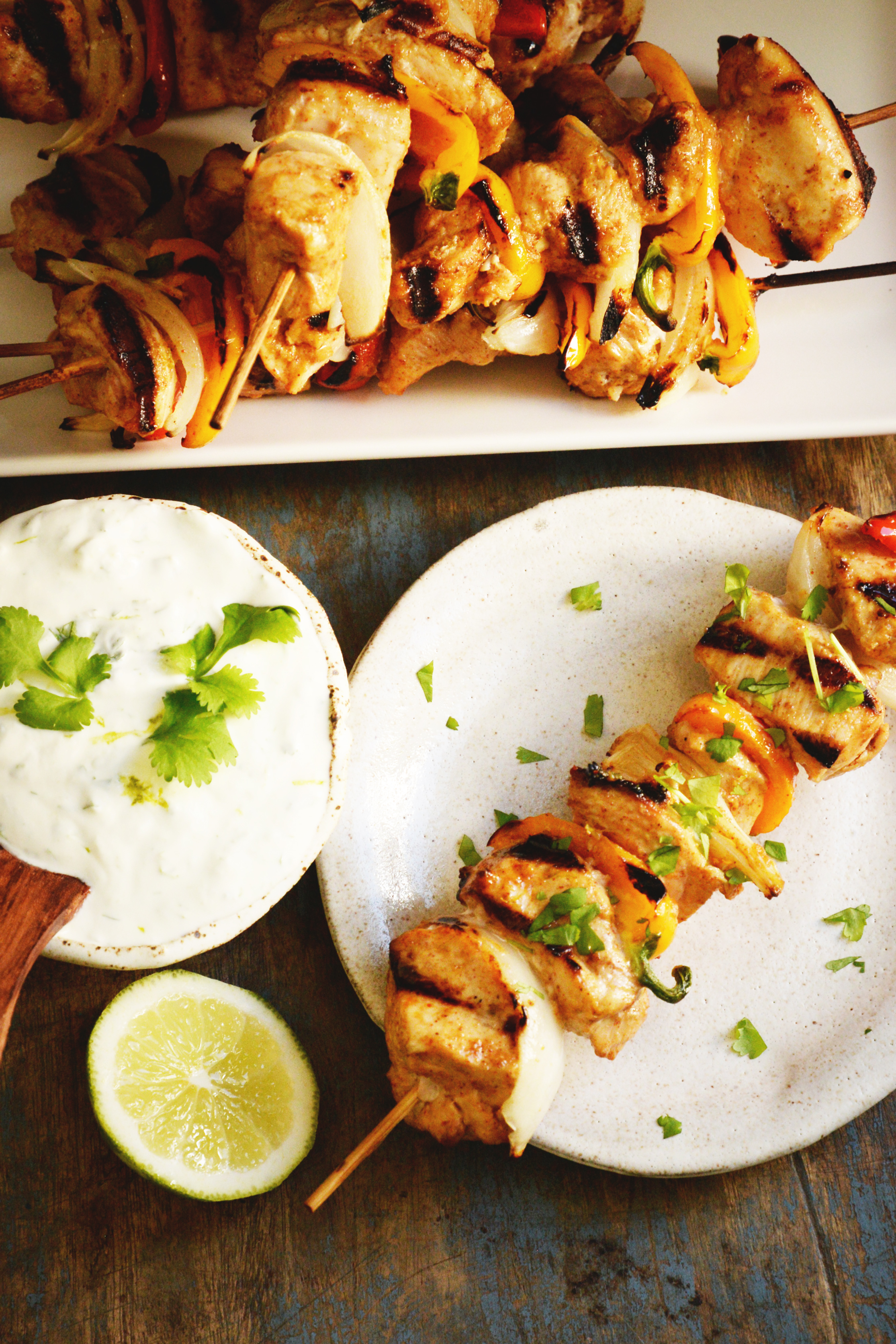 Grilled Fajita Chicken Kabobs-Overhead shot.