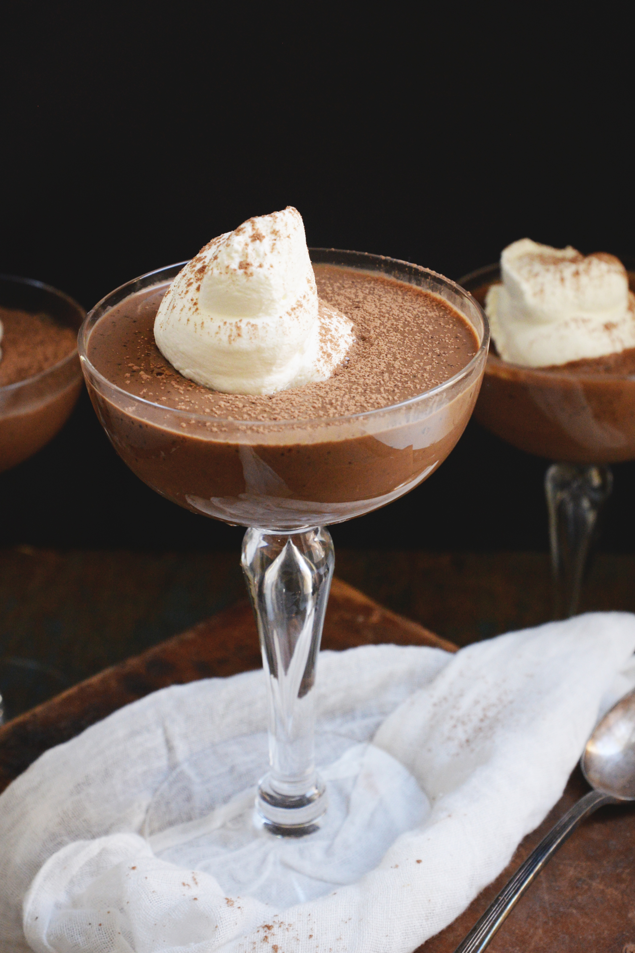 Low-Carb Chocolate Pudding Recipe-with whipped cream and cocoa powder.
