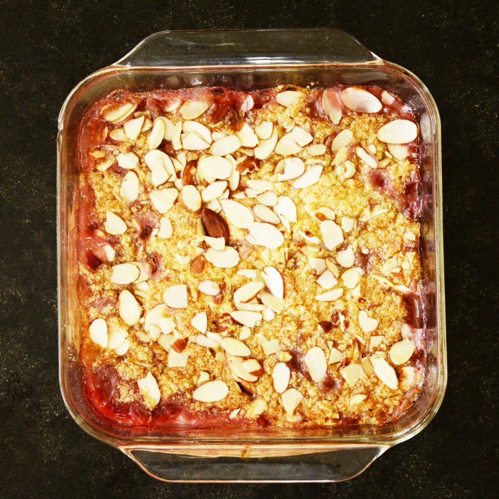 Low-Carb Strawberry Rhubarb Crisp recipe-After baking.