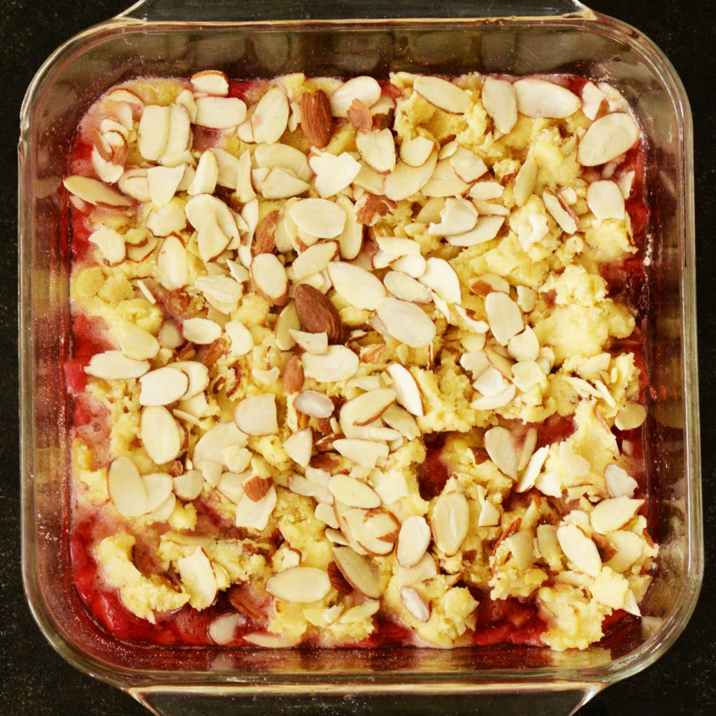 Low-Carb Strawberry Rhubarb Crisp recipe-ready for the oven