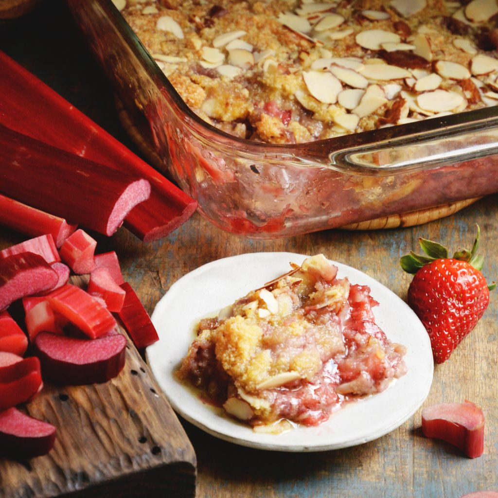 Low-Carb Strawberry Rhubarb Crisp recipe-ready for ice-cream.