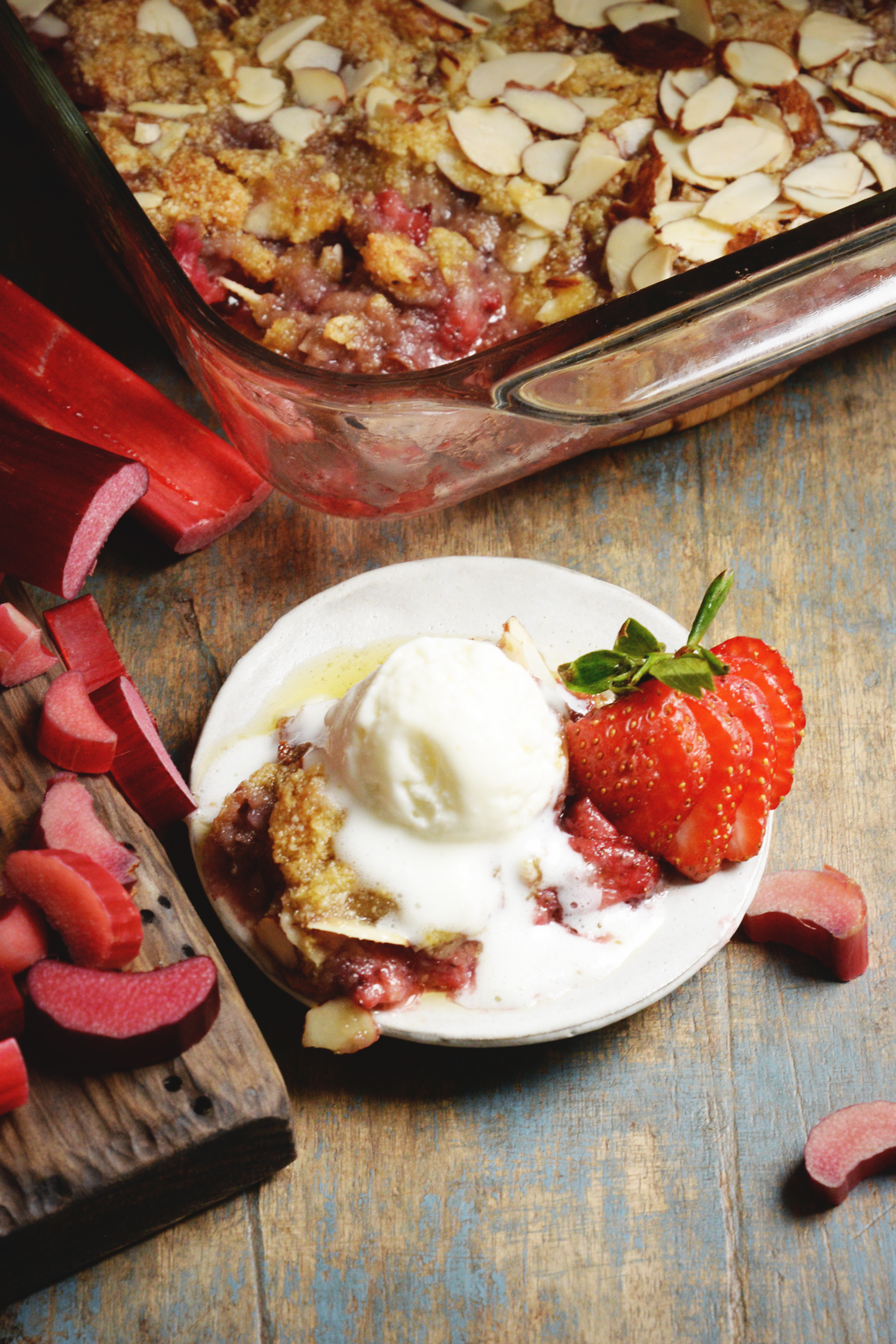 Low-Carb Strawberry Rhubarb Crisp recipe-Overhead shot.