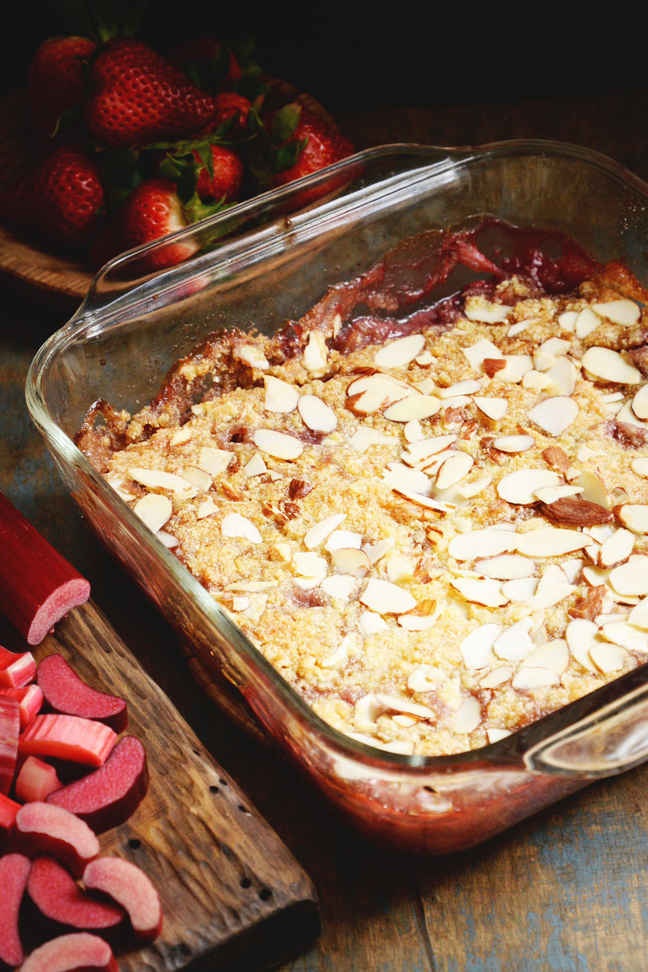 Low-Carb Strawberry Rhubarb Crisp recipe-before serving.