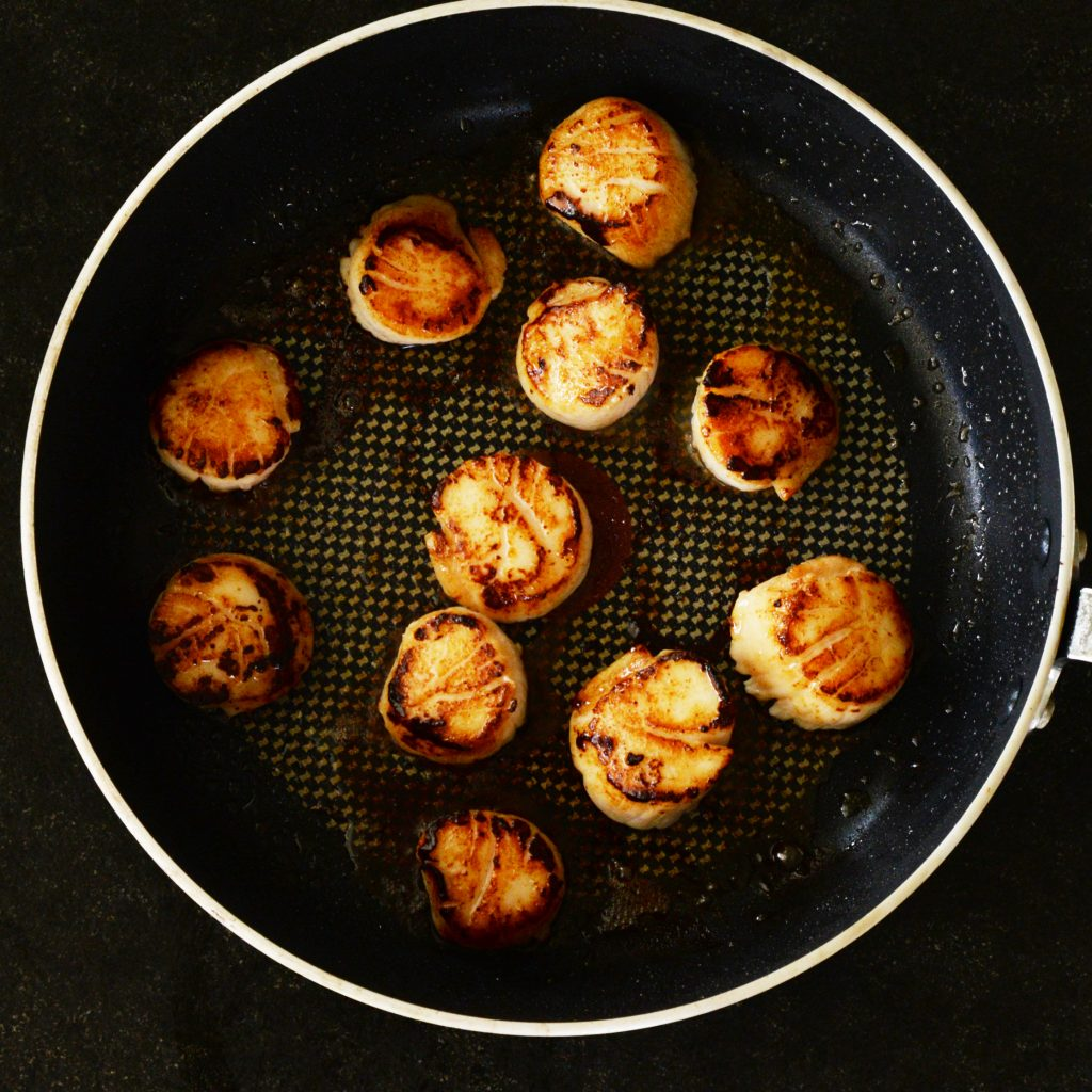Pan Seared Scallops with Tarragon Cream Sauce-before removing from pan.