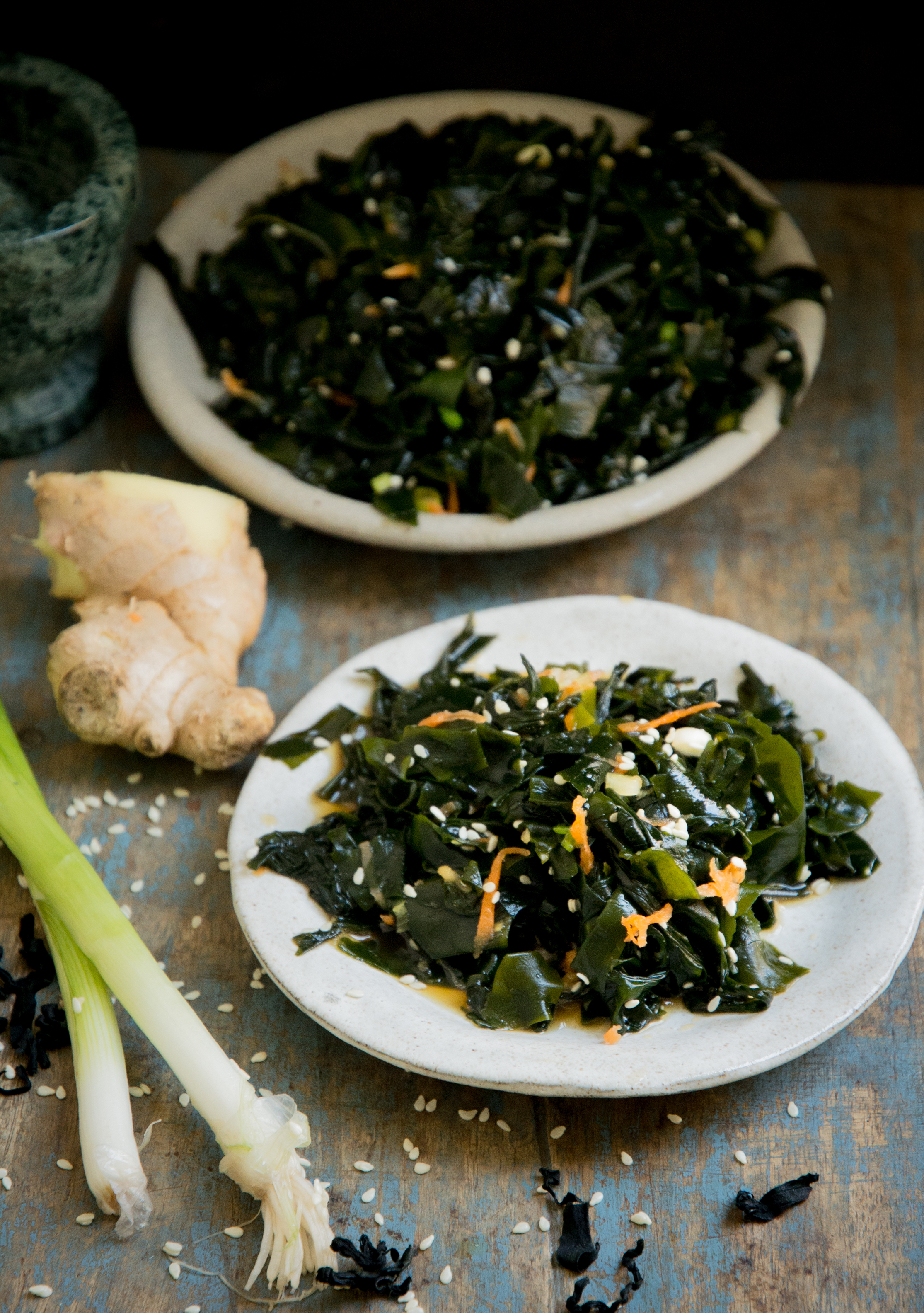 Low-Carb Seaweed Salad Recipe-shown with ginger and green onions
