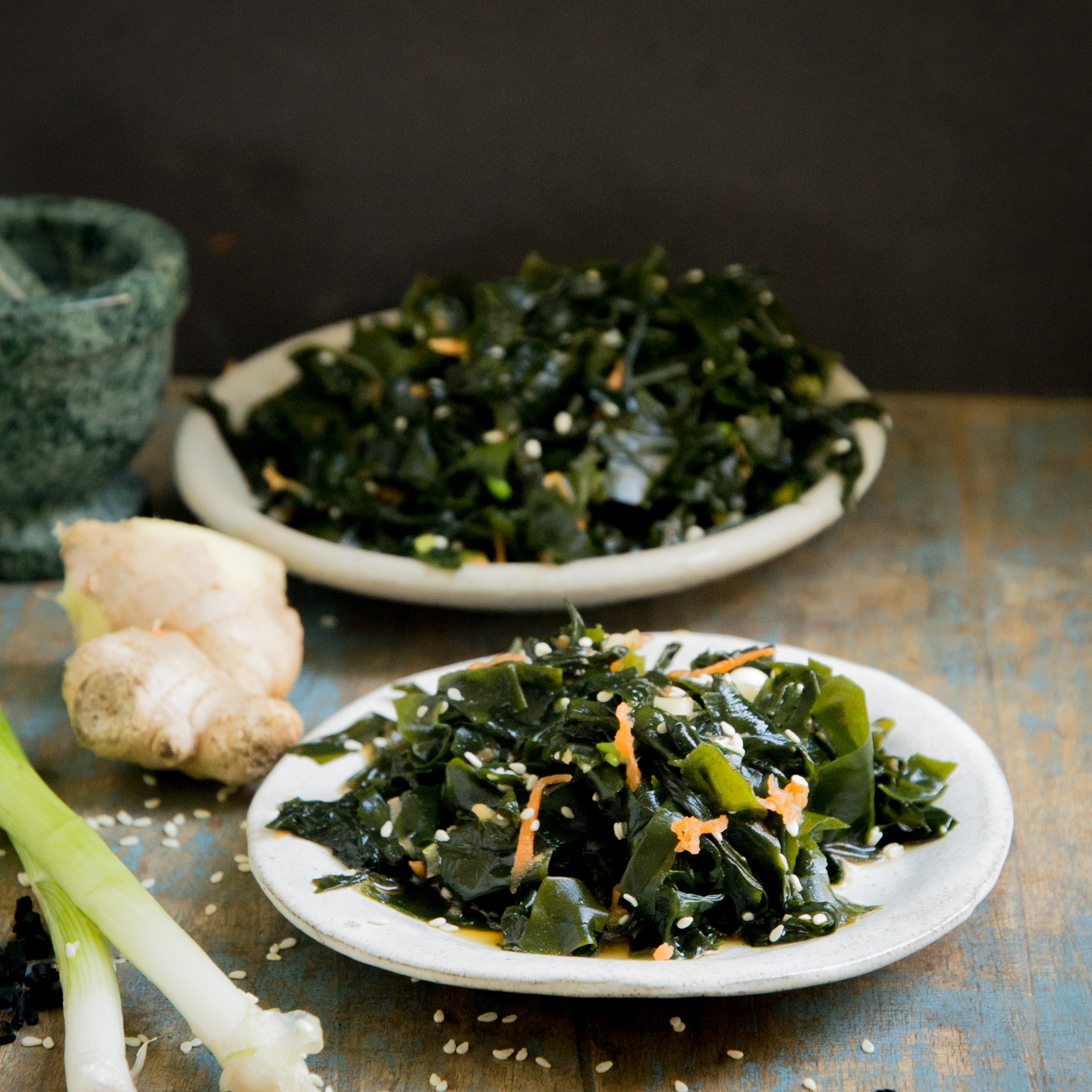 Low-Carb Seaweed Salad Recipe-on a small plate.