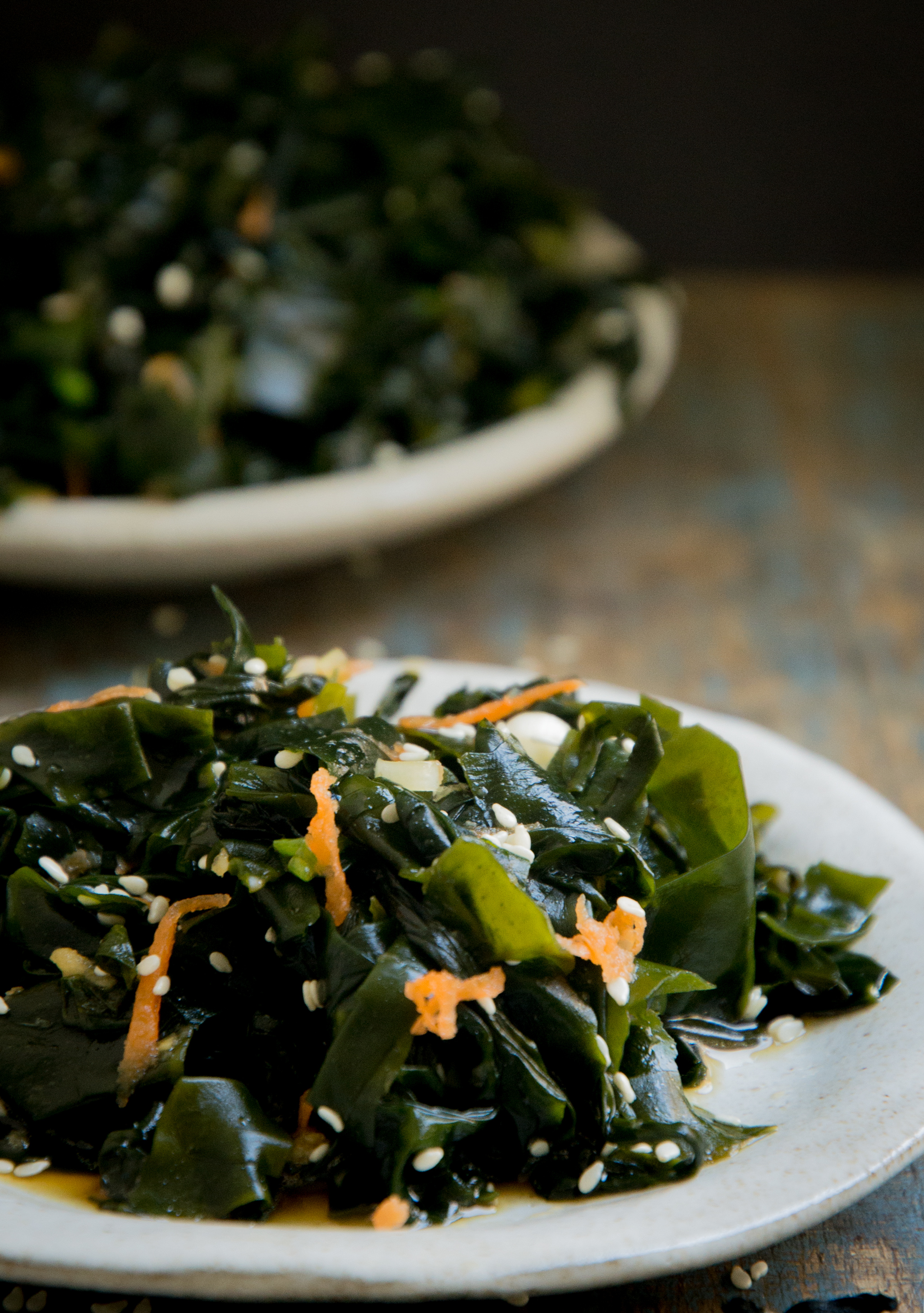 Low-Carb Seaweed Salad Recipe-Close-up on the small plate