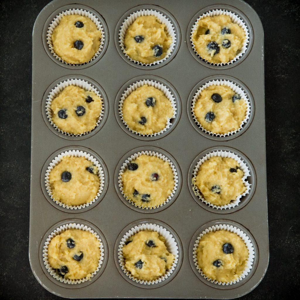 Low Carb Blueberry Muffins-ready for the oven.