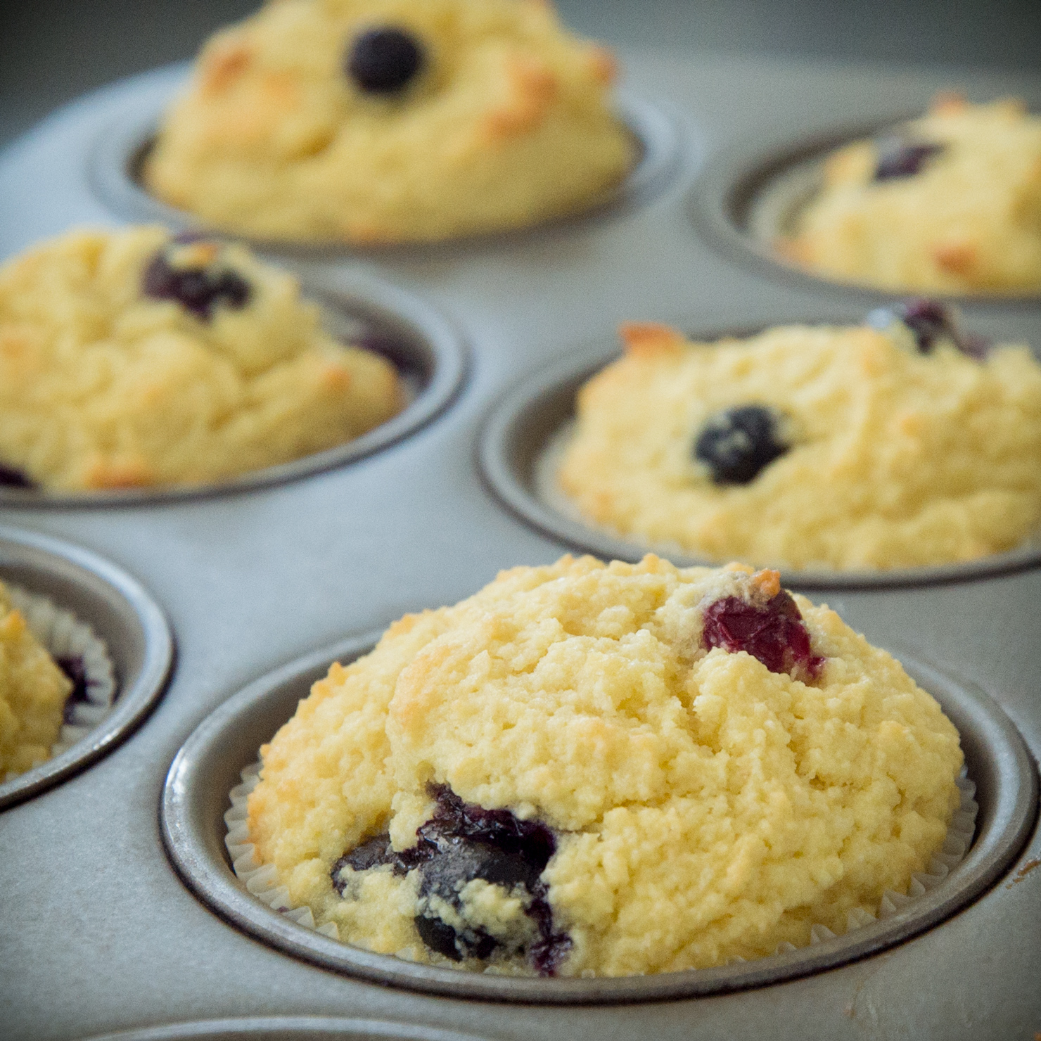 Low Carb Blueberry Muffins-Out of the oven.