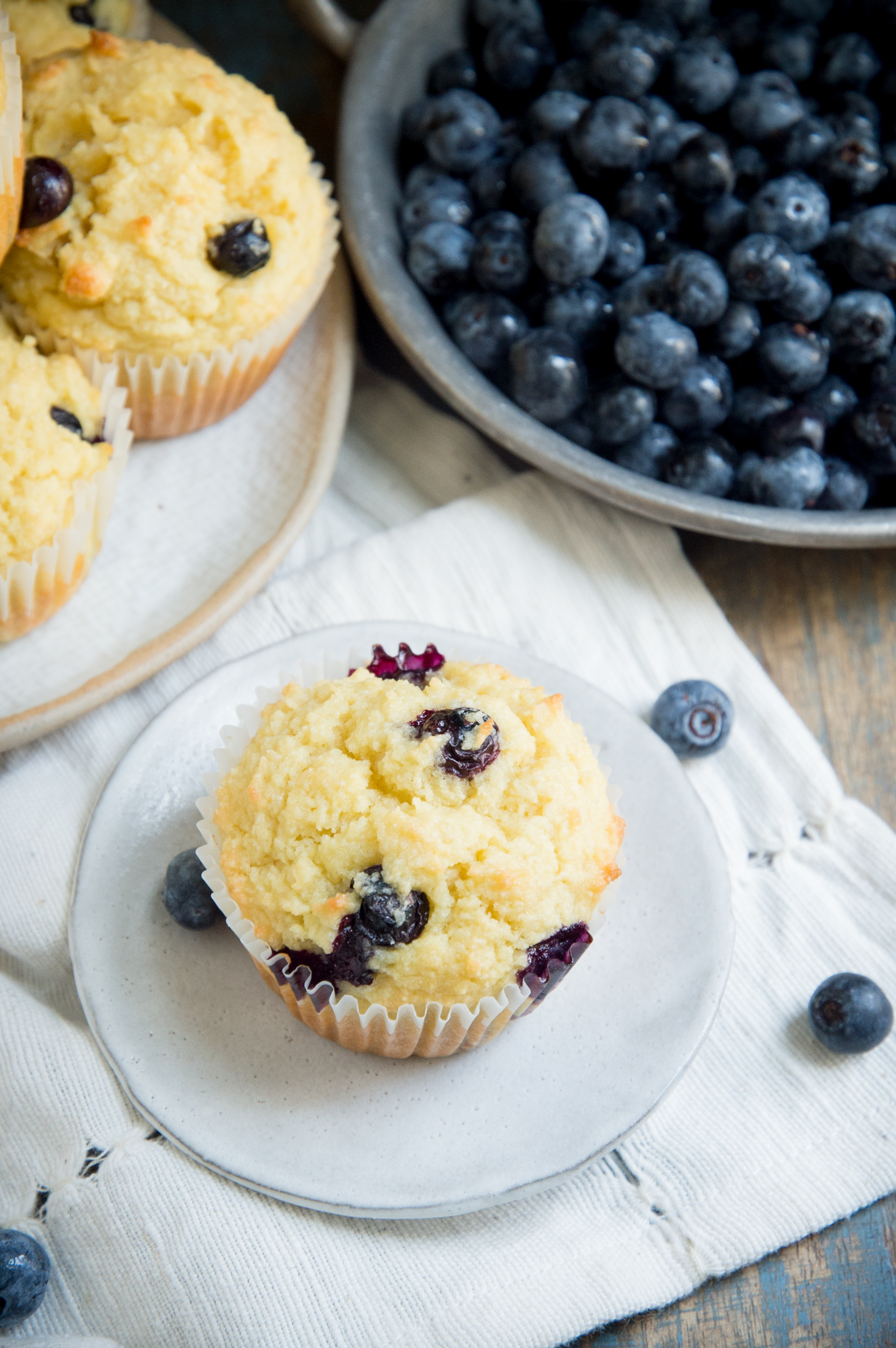 Low Carb Blueberry Muffins-overhead shot.