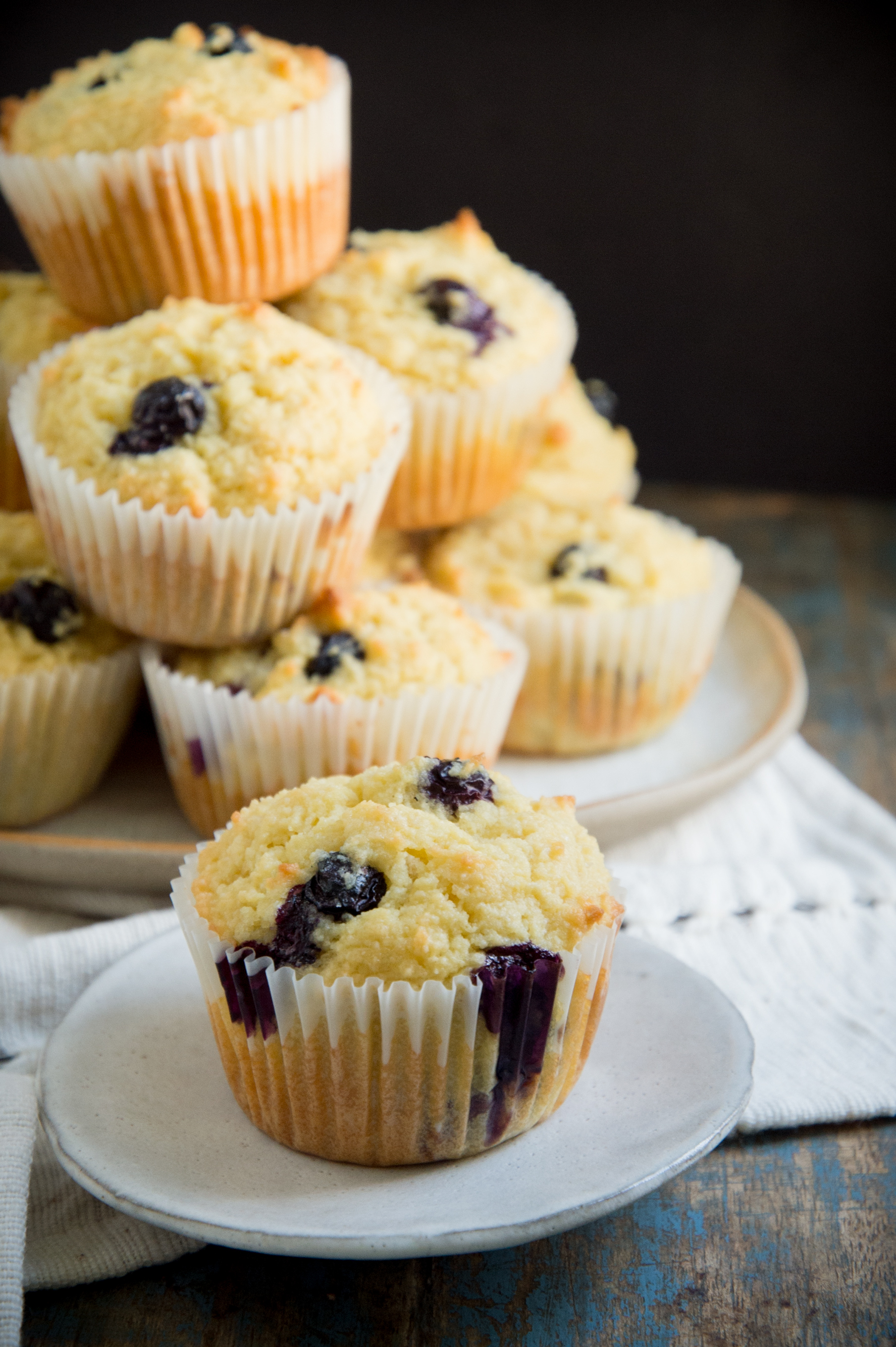 Low Carb Blueberry Muffins-all stacked up.