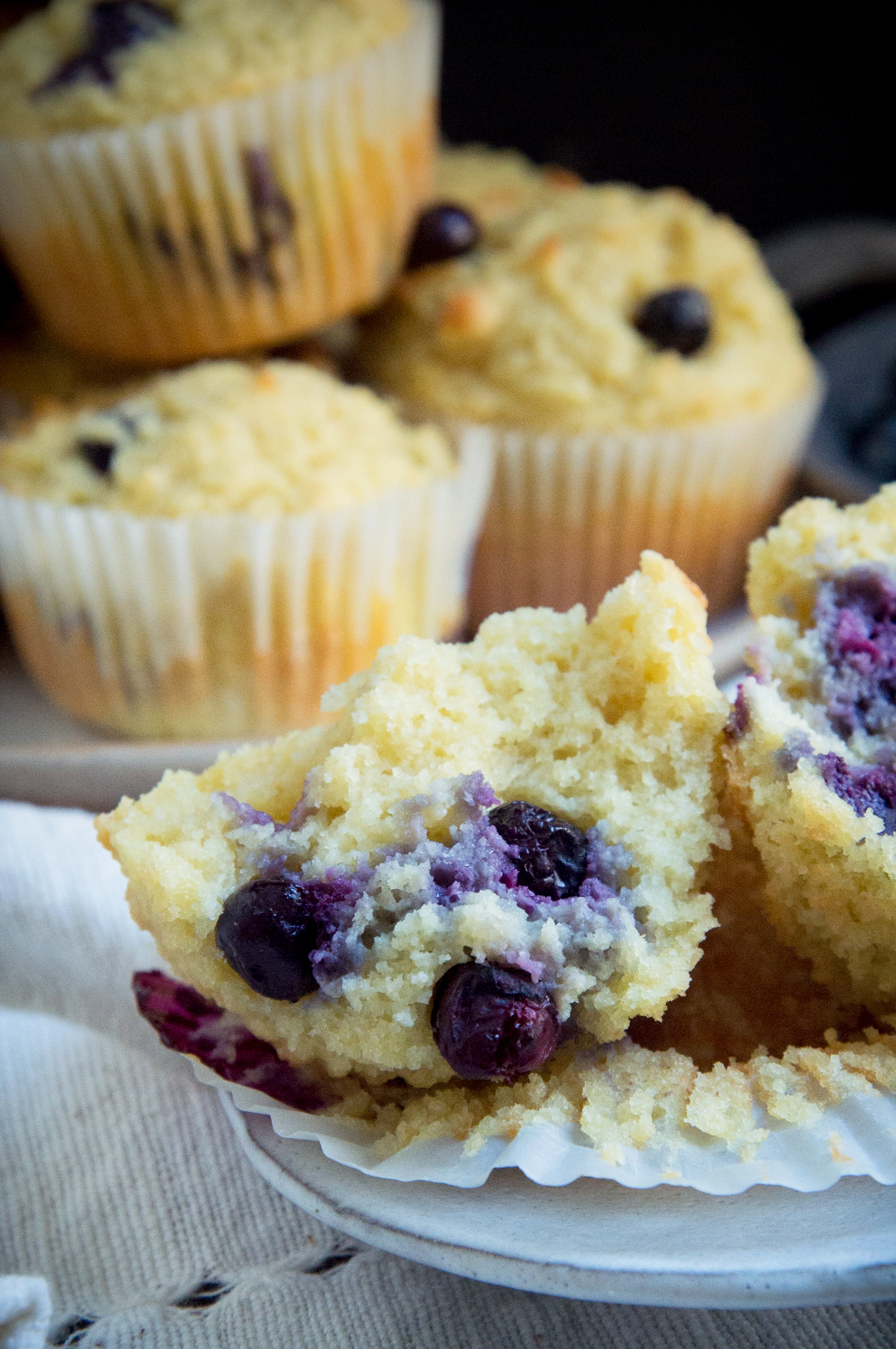 Low Carb Blueberry Muffins-showing the inside.