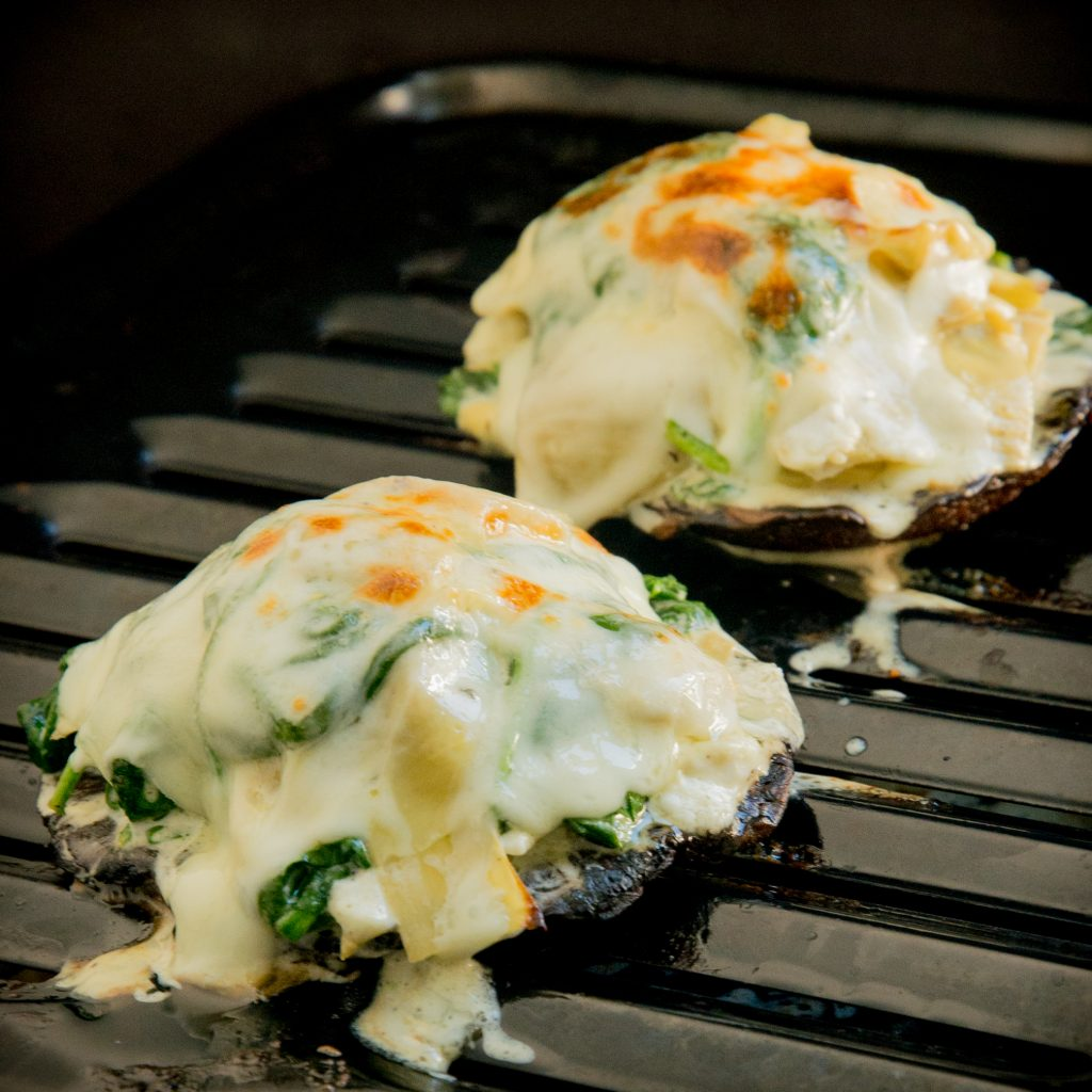 Spinach and Artichoke Stuffed Mushrooms-After the final broil.