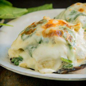 Spinach and Artichoke Stuffed Mushrooms-recipe image.