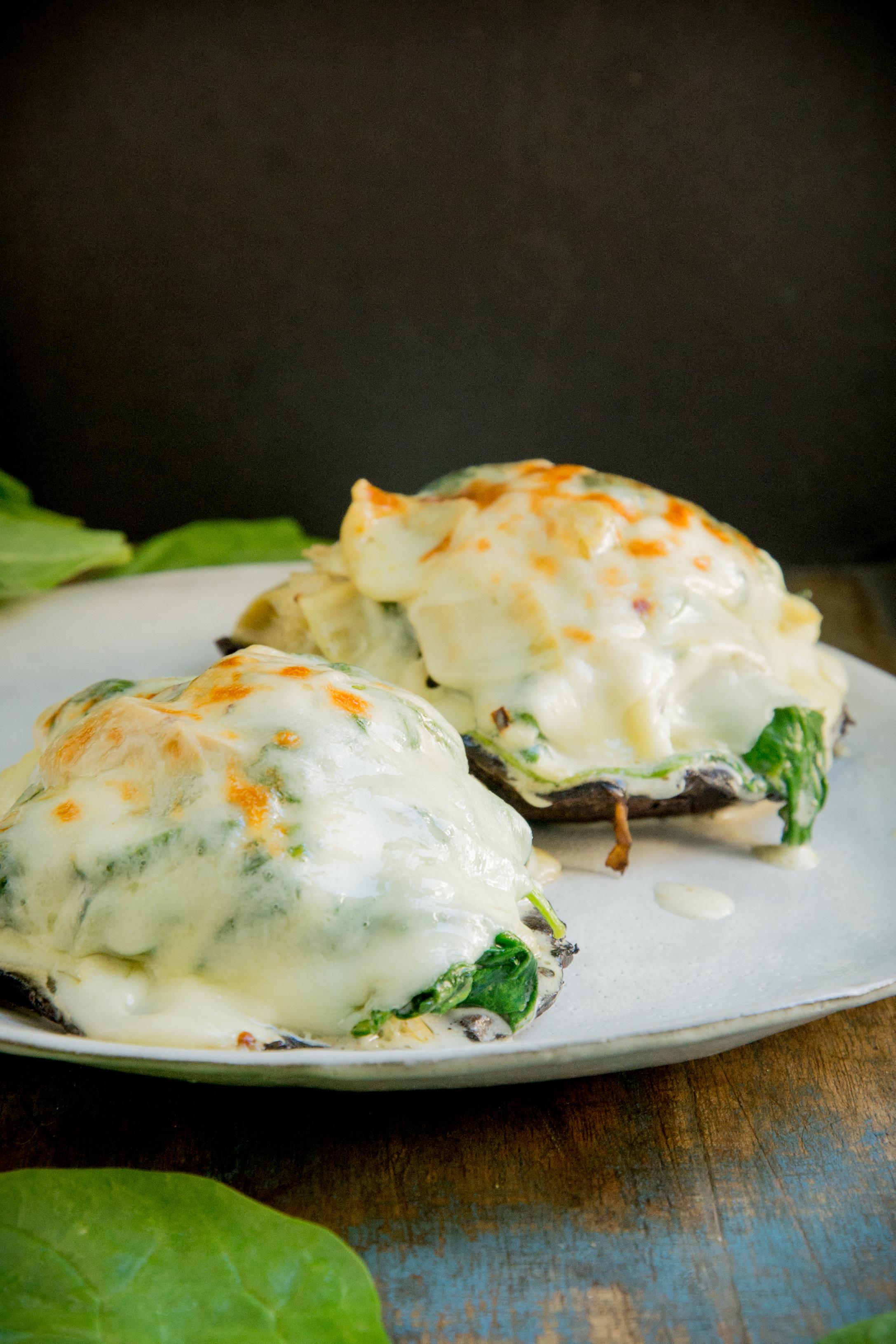 Spinach and Artichoke Stuffed Mushrooms-ready for eating.