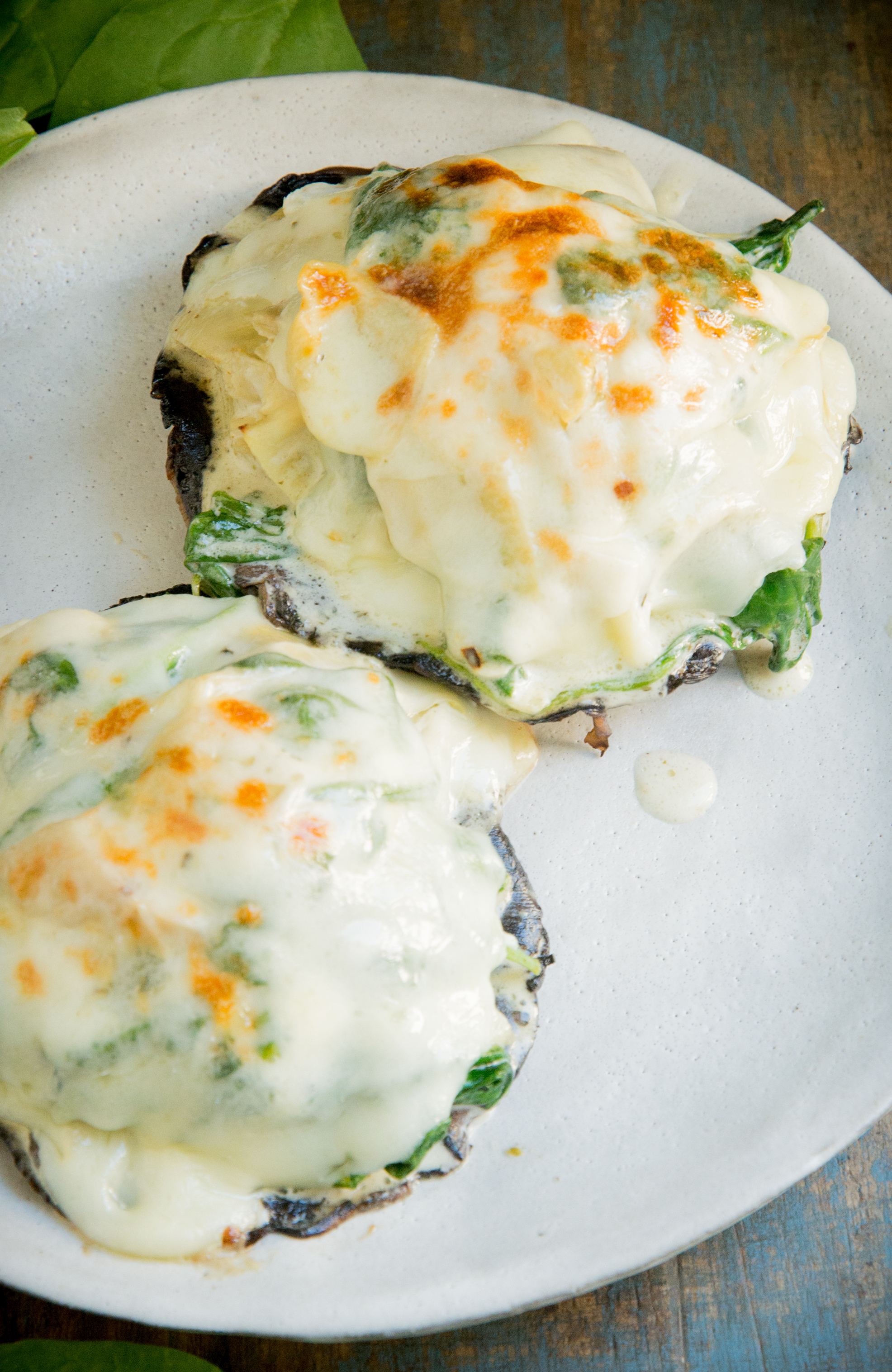 Spinach and Artichoke Stuffed Mushrooms-overhead shot.