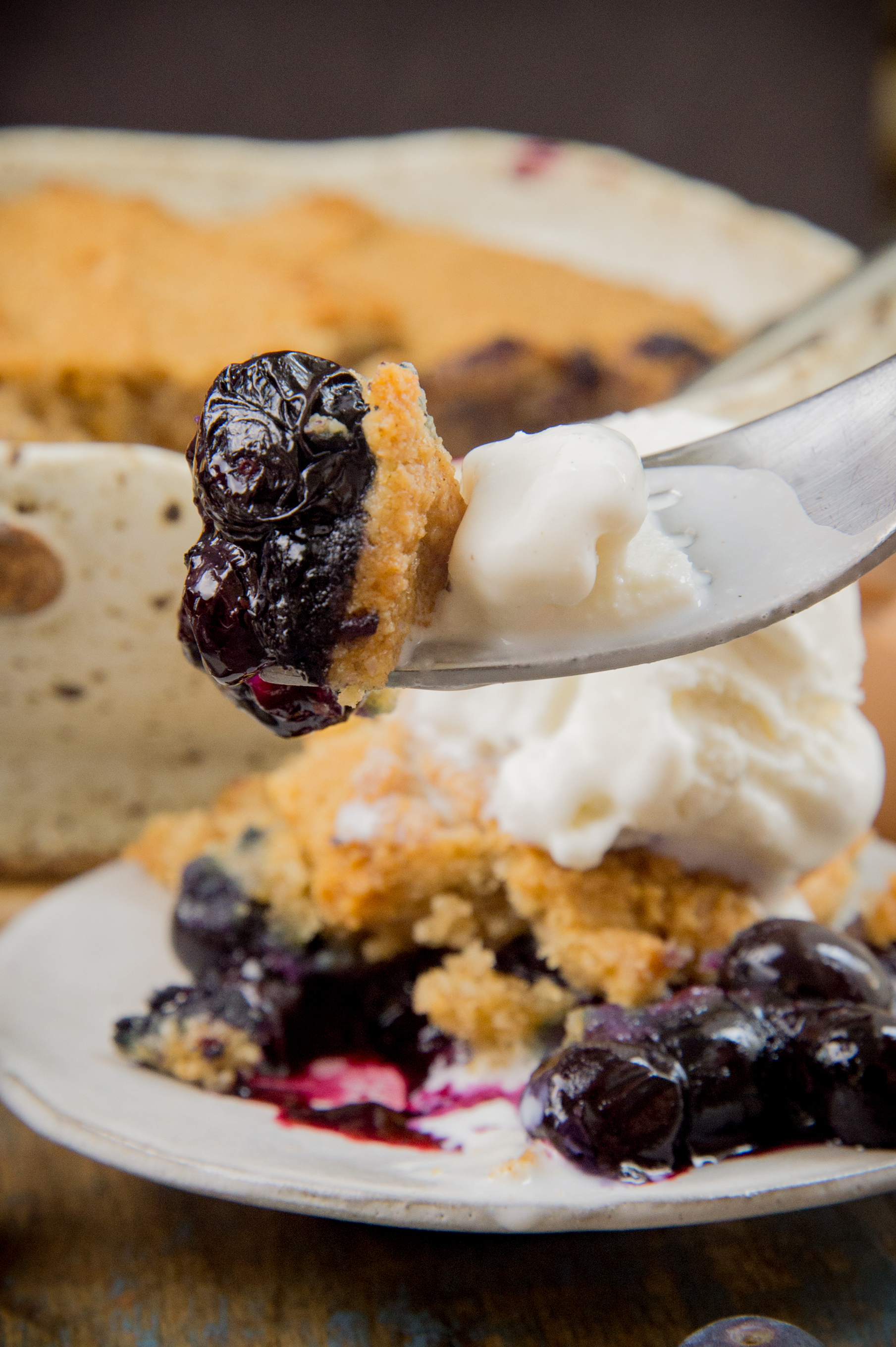 Low-Carb Keto-friendly Blueberry Cobbler-bite shot.