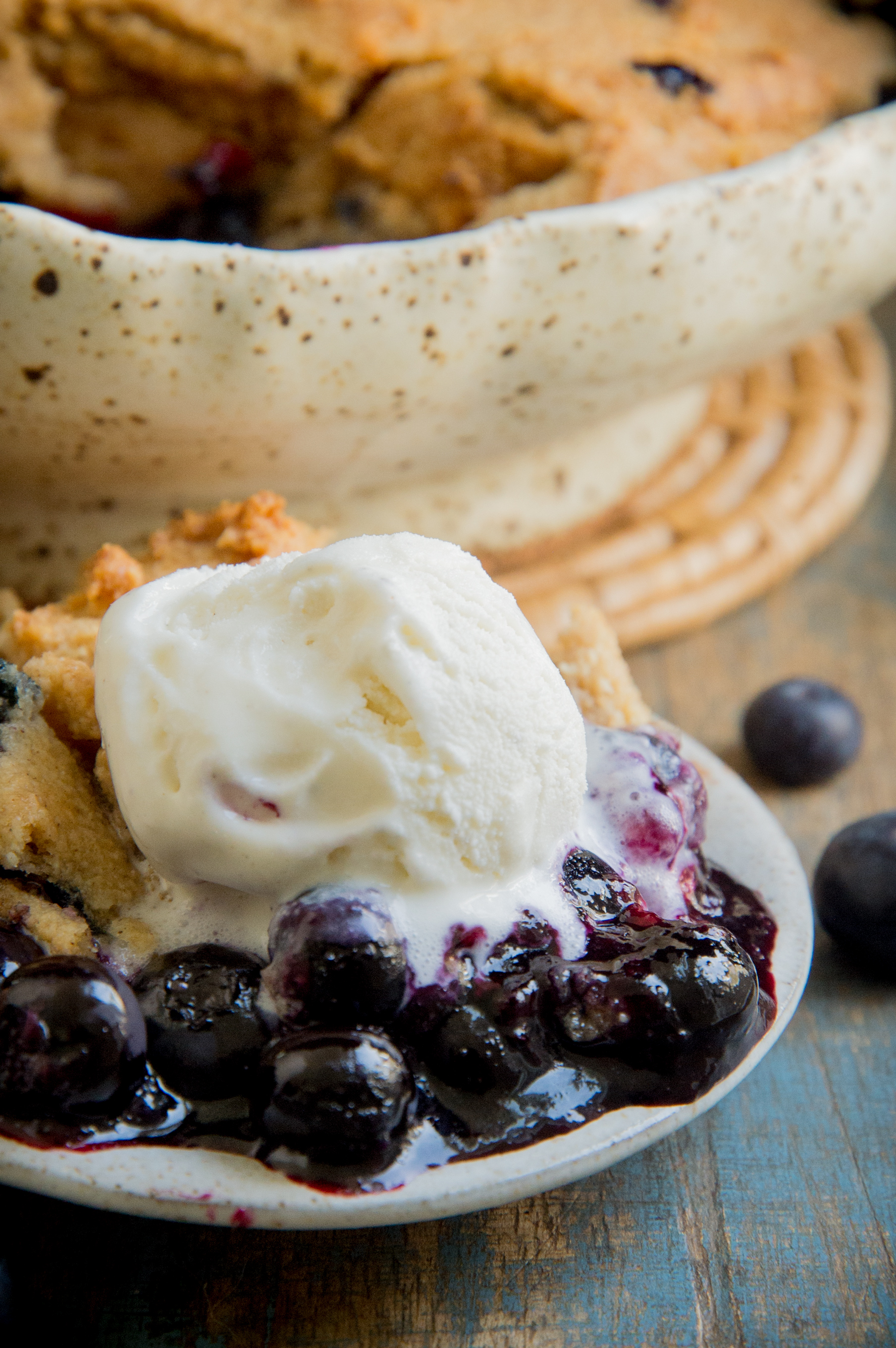 Low-Carb Keto-friendly Blueberry Cobbler with ice cream.