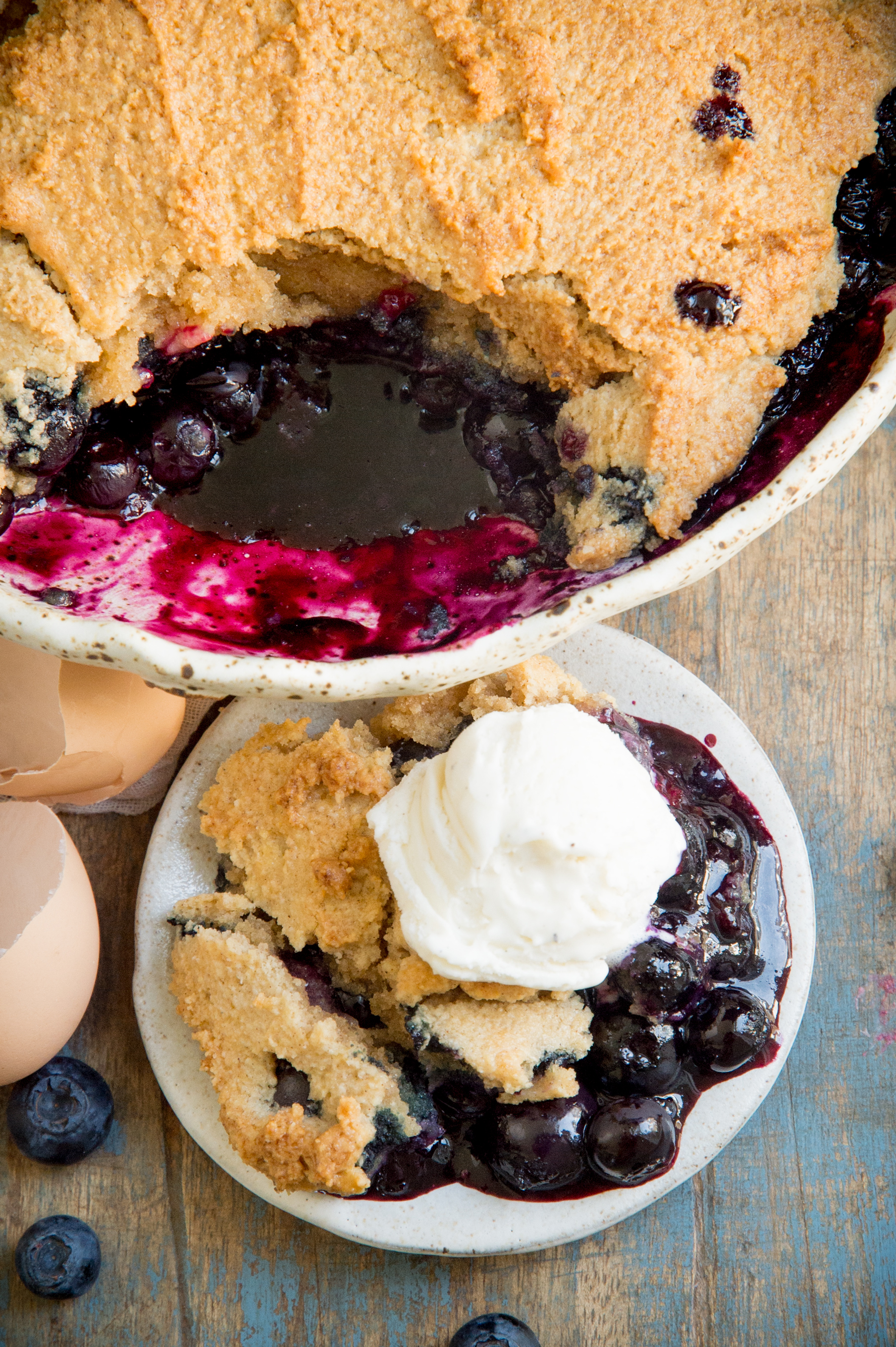 Low-Carb Keto-friendly Blueberry Cobbler-overhead shot.