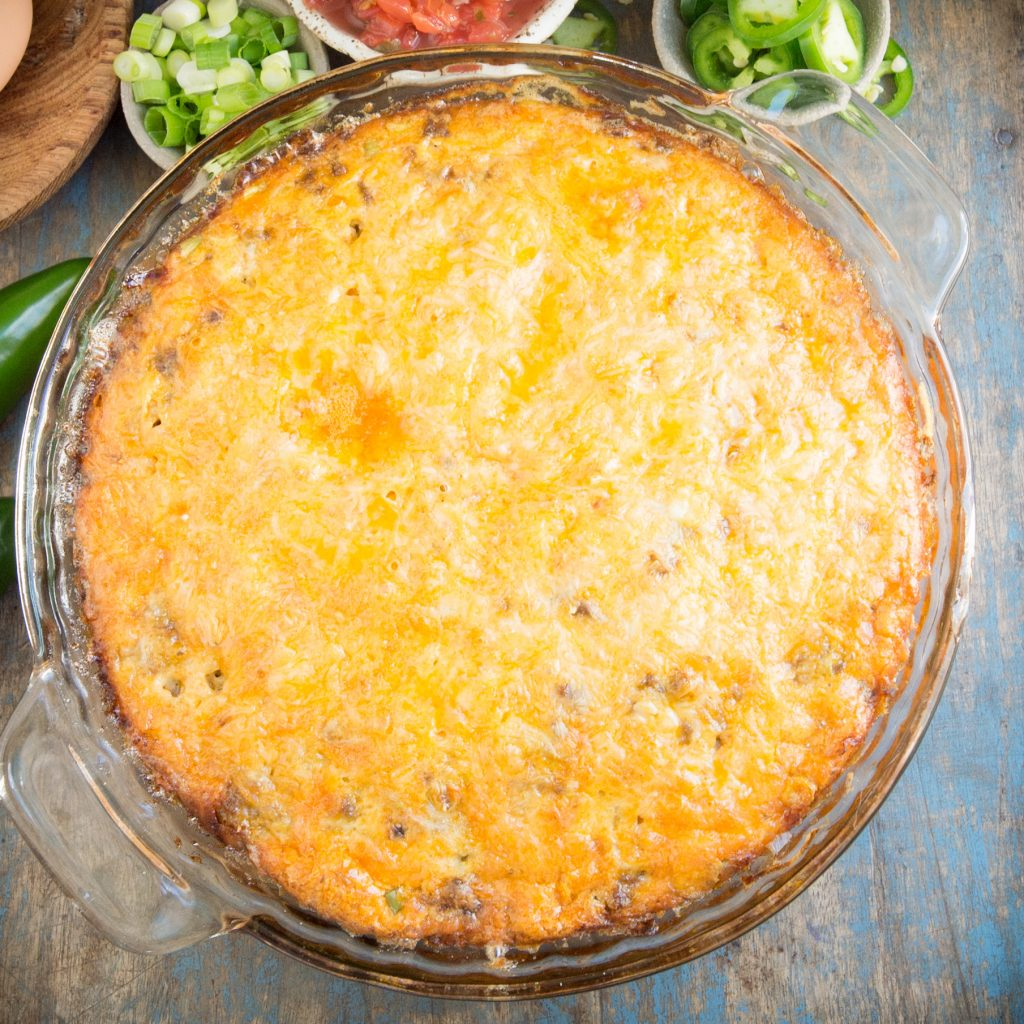 Keto Low-Carb Crustless Taco Pie -Fresh from the oven.