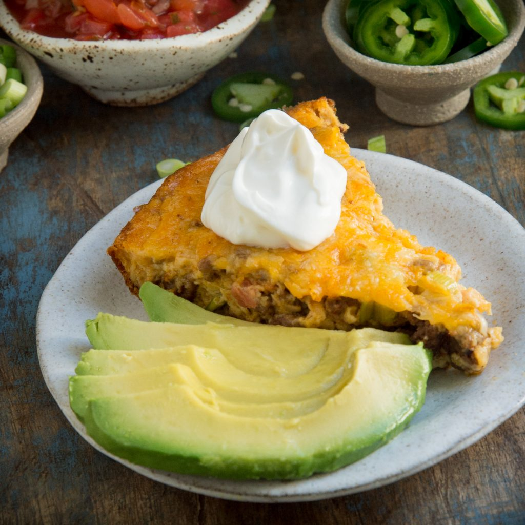 Keto Low-Carb Crustless Taco Pie -recipe image.