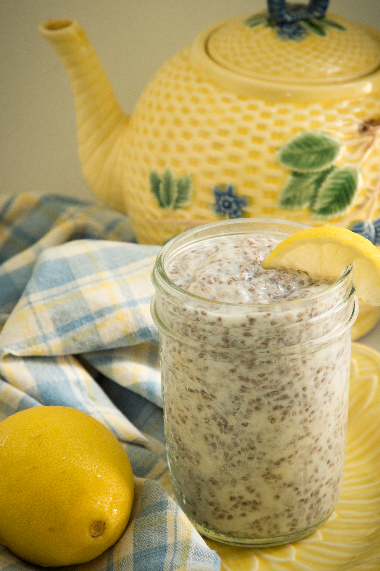Easy Keto Lemon Chia Pudding -with teapot behind.