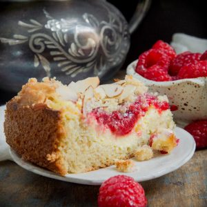 Keto Raspberry Cream Cheese Coffee Cake recipe-Gluten free and low-carb