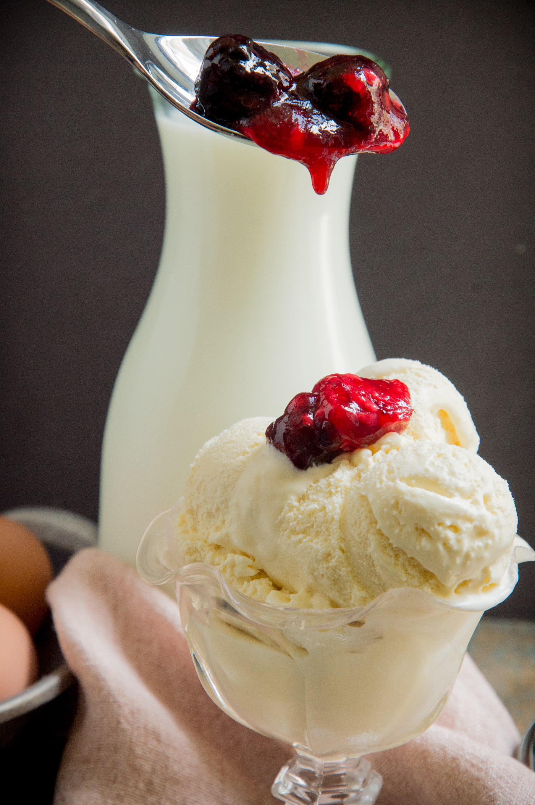Low Carb Keto Vanilla Ice Cream Recipe-adding some topping.