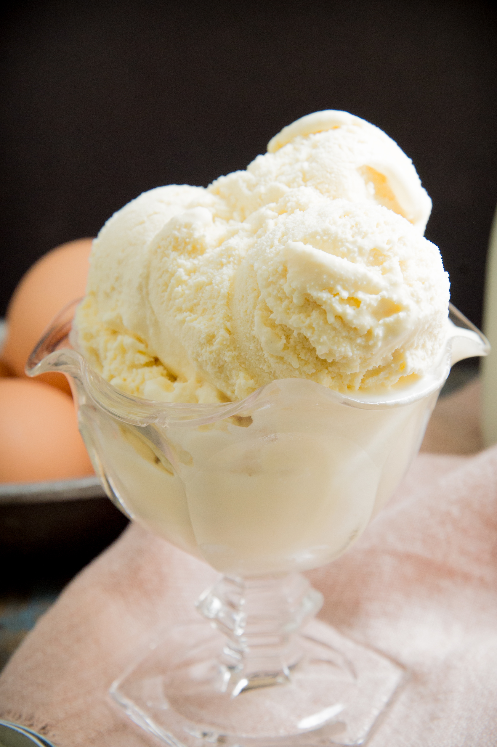 Low Carb Keto Vanilla Ice Cream Recipe-close up of ice cream.