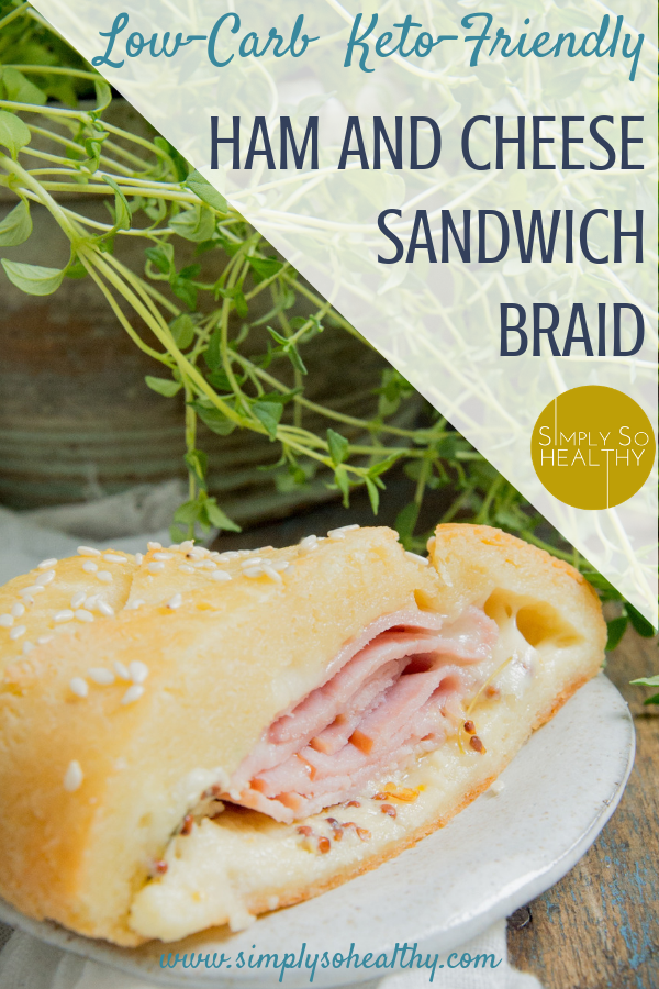 This recipe for Low-Carb Ham and Cheese Sandwich Braid makes a delicious low-carb sandwich alternative. Kids love the ham and melted cheese goodness, so this recipe makes a great family dinner. This recipe can be part of a low carb, keto, Atkins, diabetic, or gluten-free diet. #ketodinnerrecipe #ketorecipesforkids #ketofamilymeal