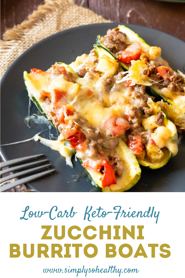These delicious zucchini burrito boats are the perfect low-carb family meal. These boats are filled with vegetables and cheesy goodness. In fact, you might find yourself doubling the recipe just to make sure there's enough to go around! #ketodinner #lowcarbdinner #ketomexican #ketomexicanrecipe #lowcarbmexican