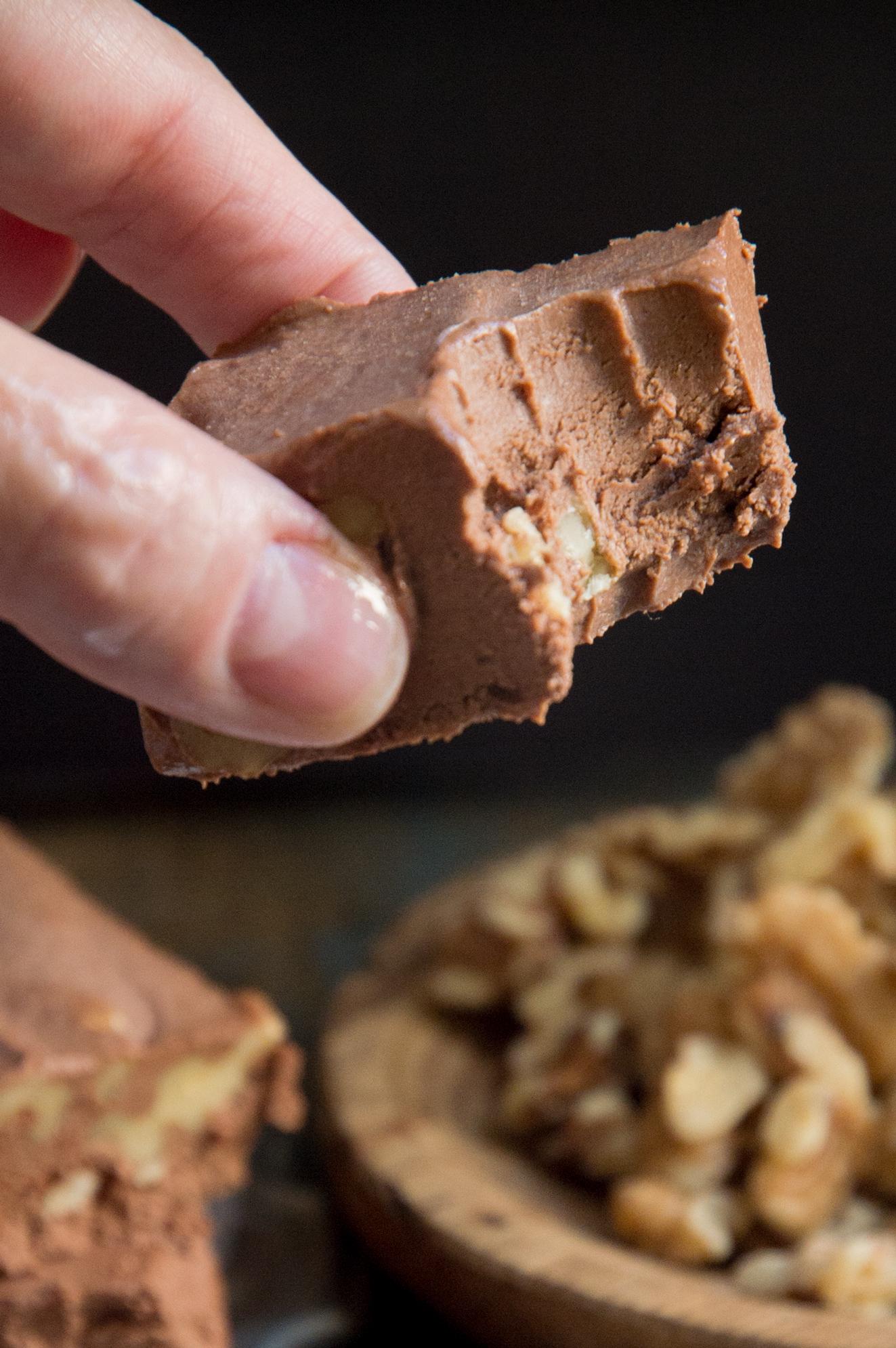 Keto Chocolate Fudge Recipe-Close up of inside.