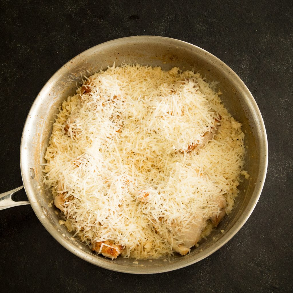 Low-Carb One Skillet Creamy Garlic Parmesan Chicken ready for the oven.